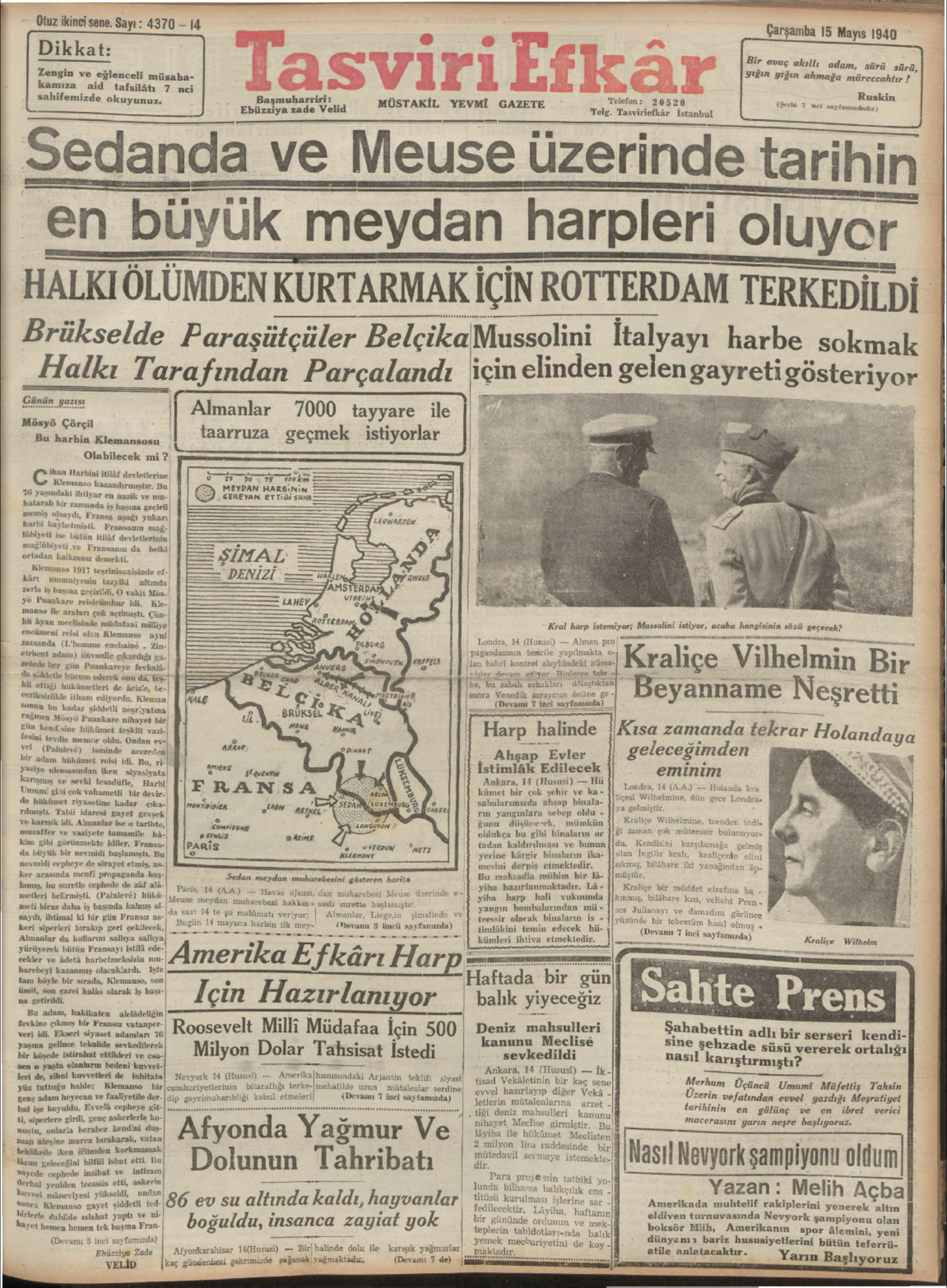 15 Mayıs 1940 Tarihli Tasviri Efkar Gazetesi Sayfa 1