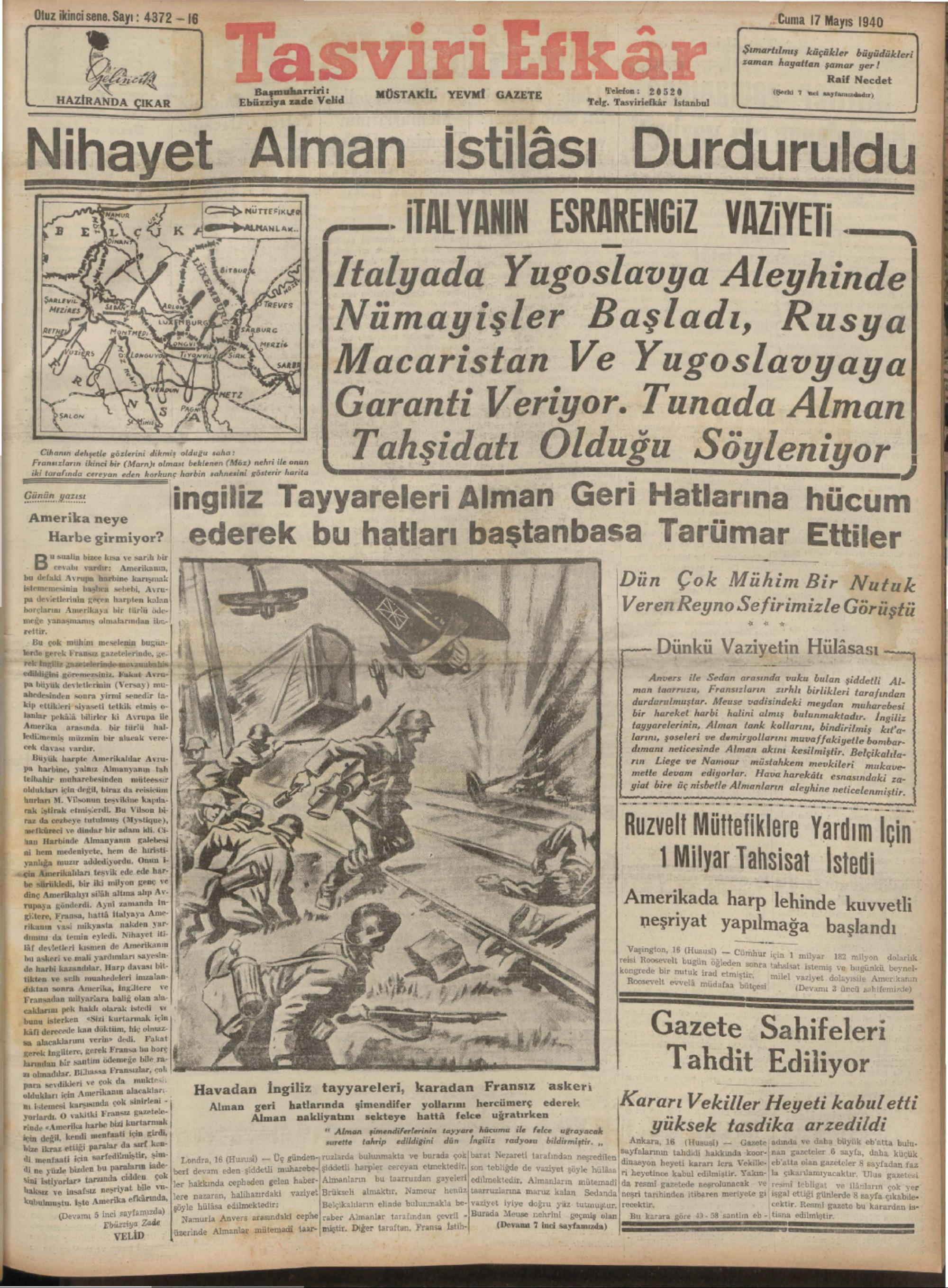 17 Mayıs 1940 Tarihli Tasviri Efkar Gazetesi Sayfa 1
