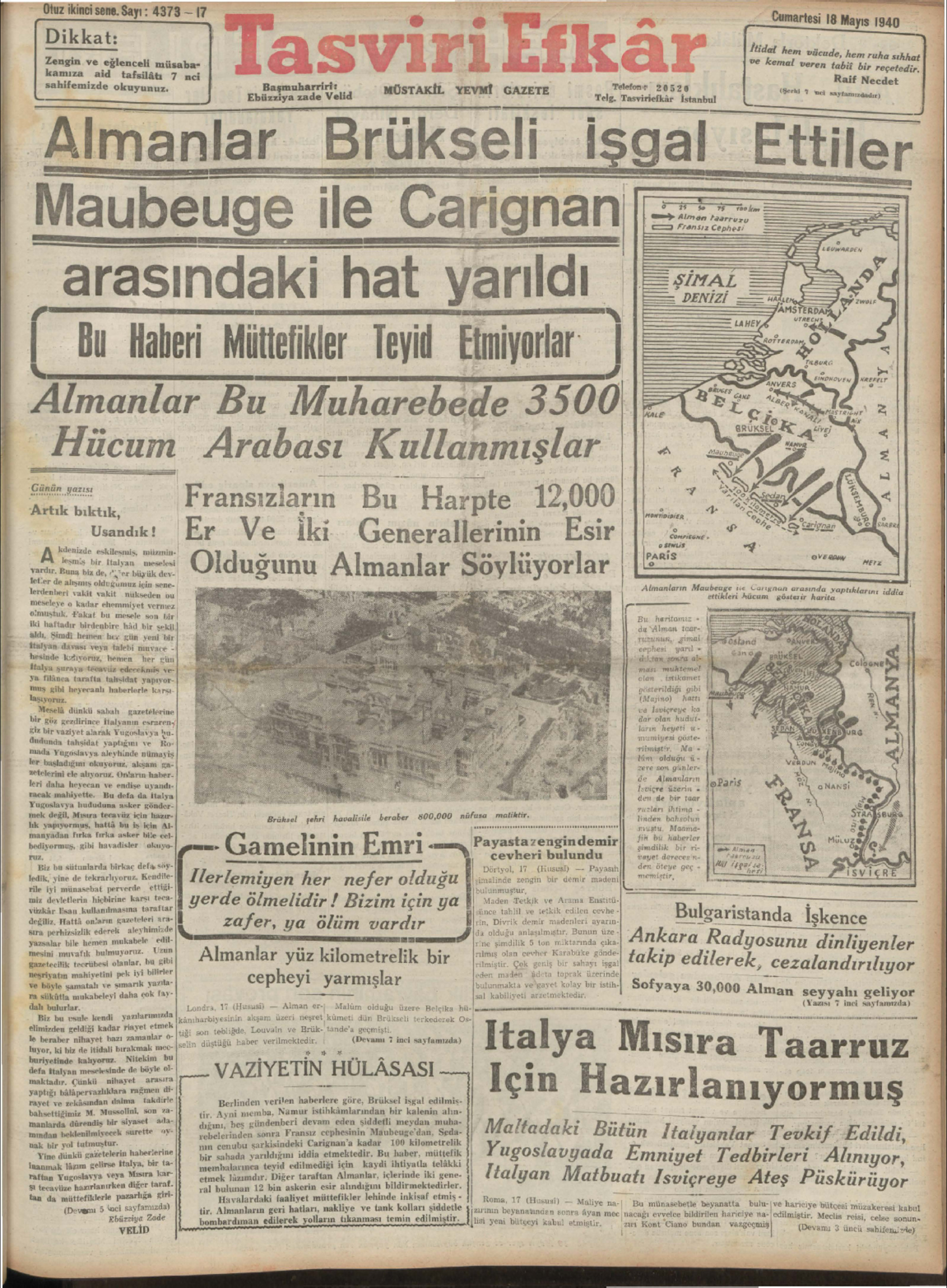 18 Mayıs 1940 Tarihli Tasviri Efkar Gazetesi Sayfa 1
