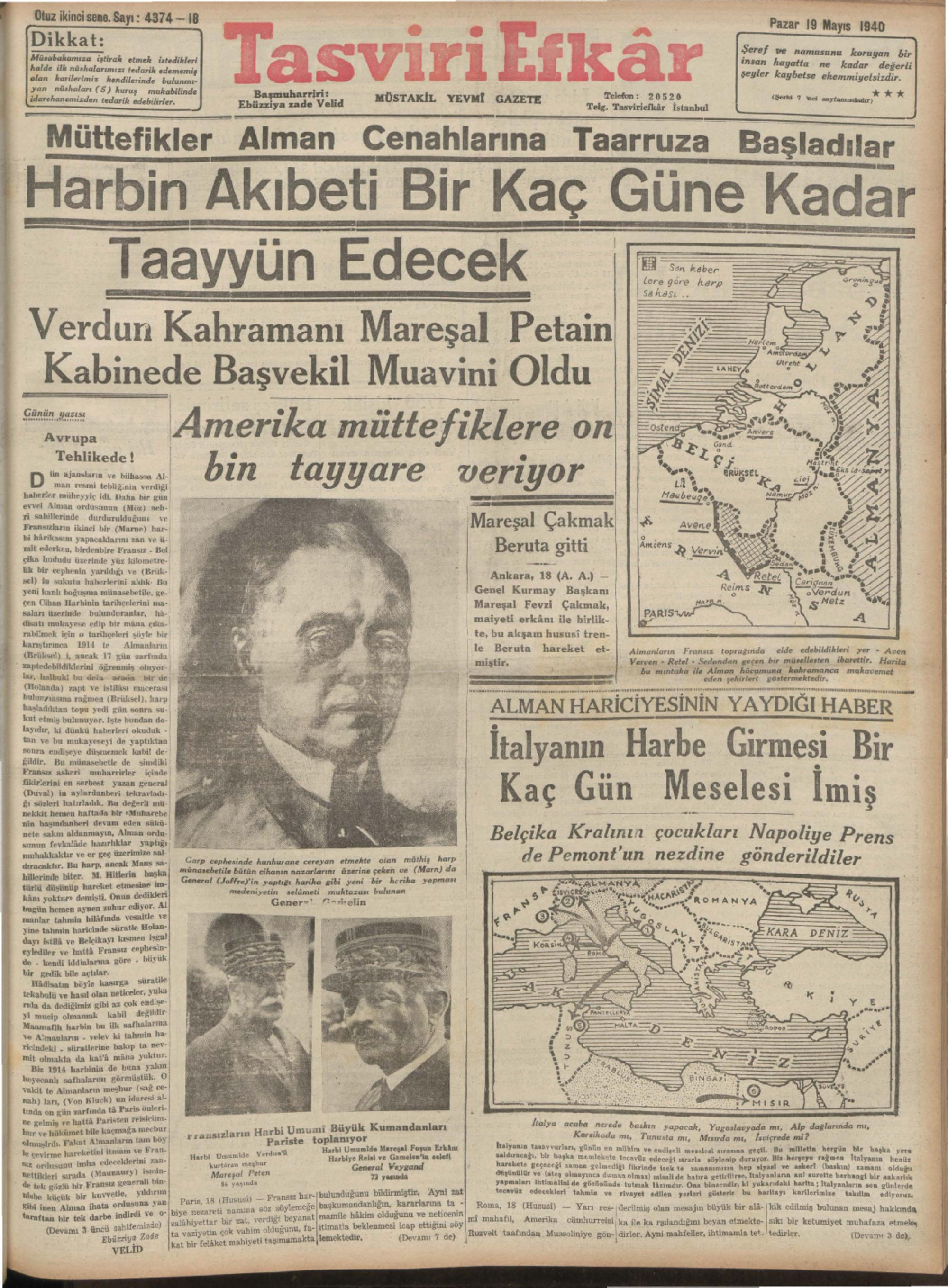 19 Mayıs 1940 Tarihli Tasviri Efkar Gazetesi Sayfa 1