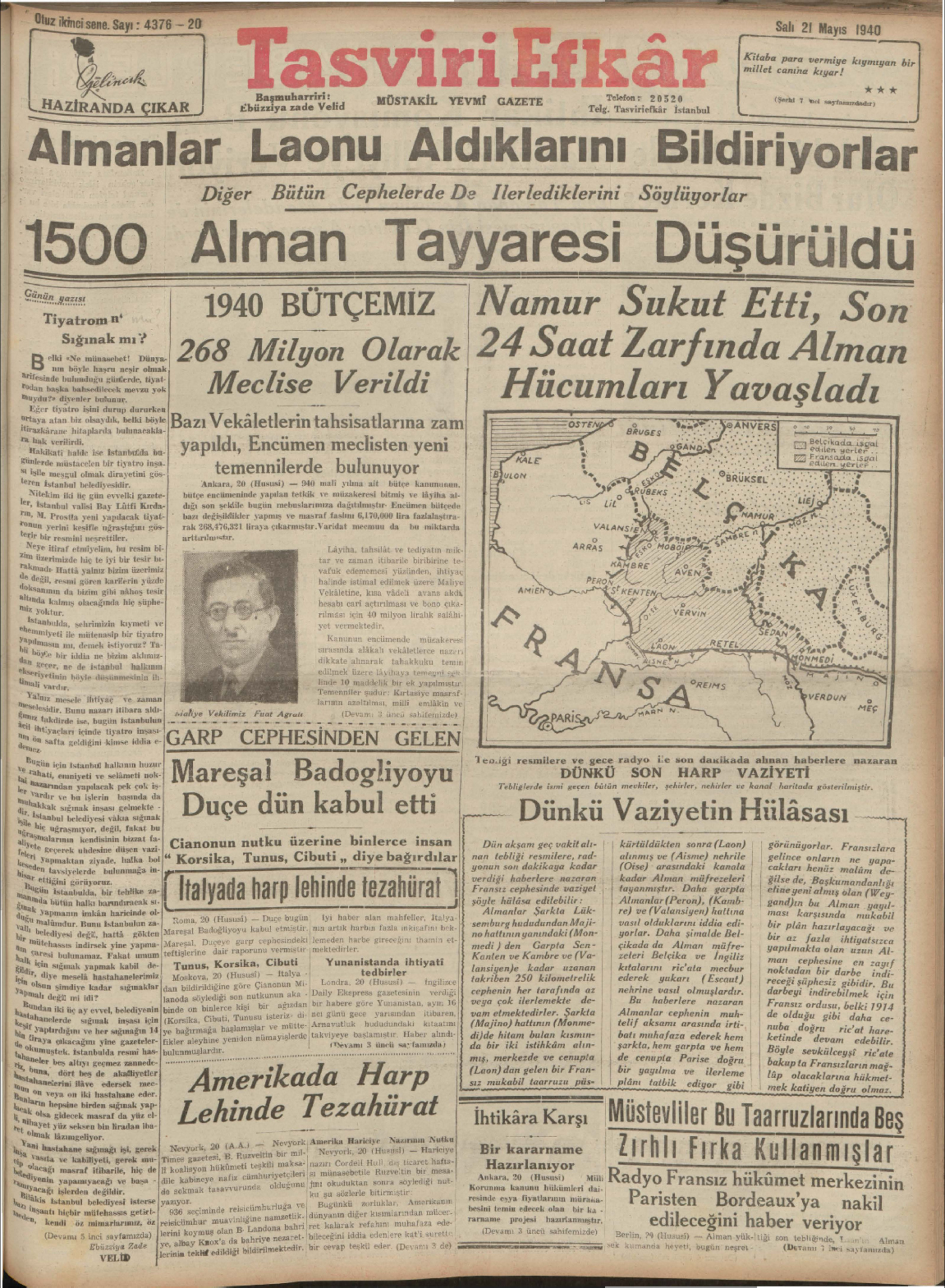 21 Mayıs 1940 Tarihli Tasviri Efkar Gazetesi Sayfa 1