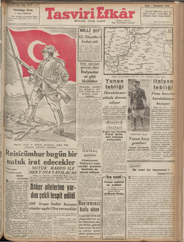 1 Kasım 1940 tarihli Tasviri Efkar Gazetesi Sayfa 1