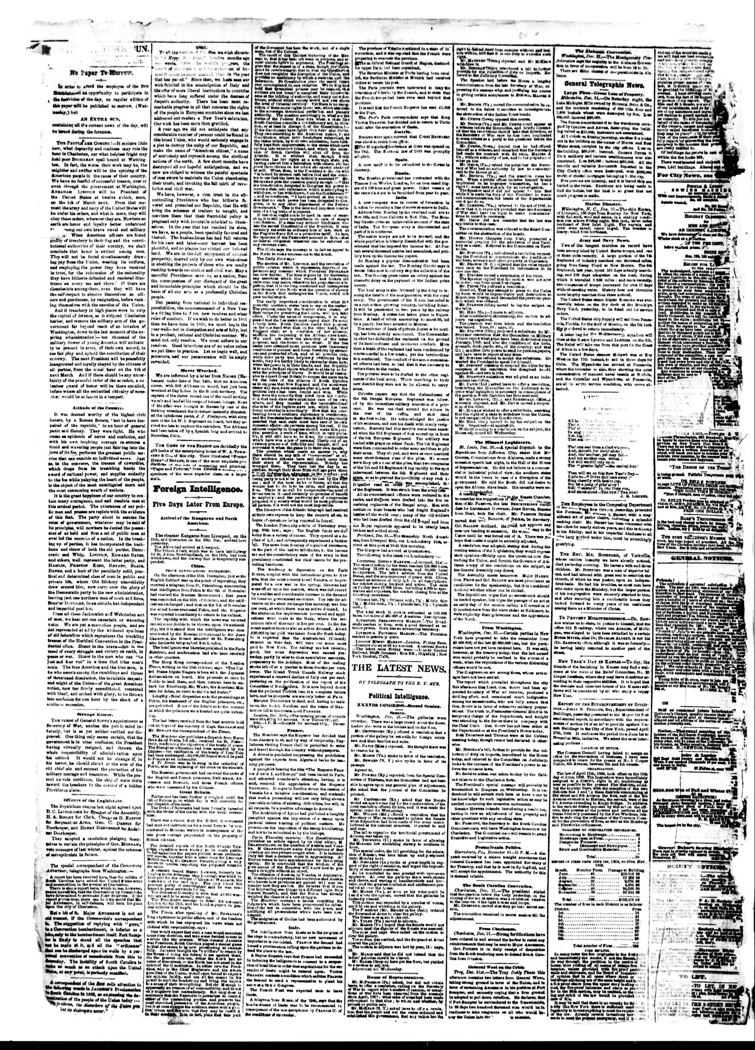 Newspaper of The Sun dated January 1, 1861 Page 2