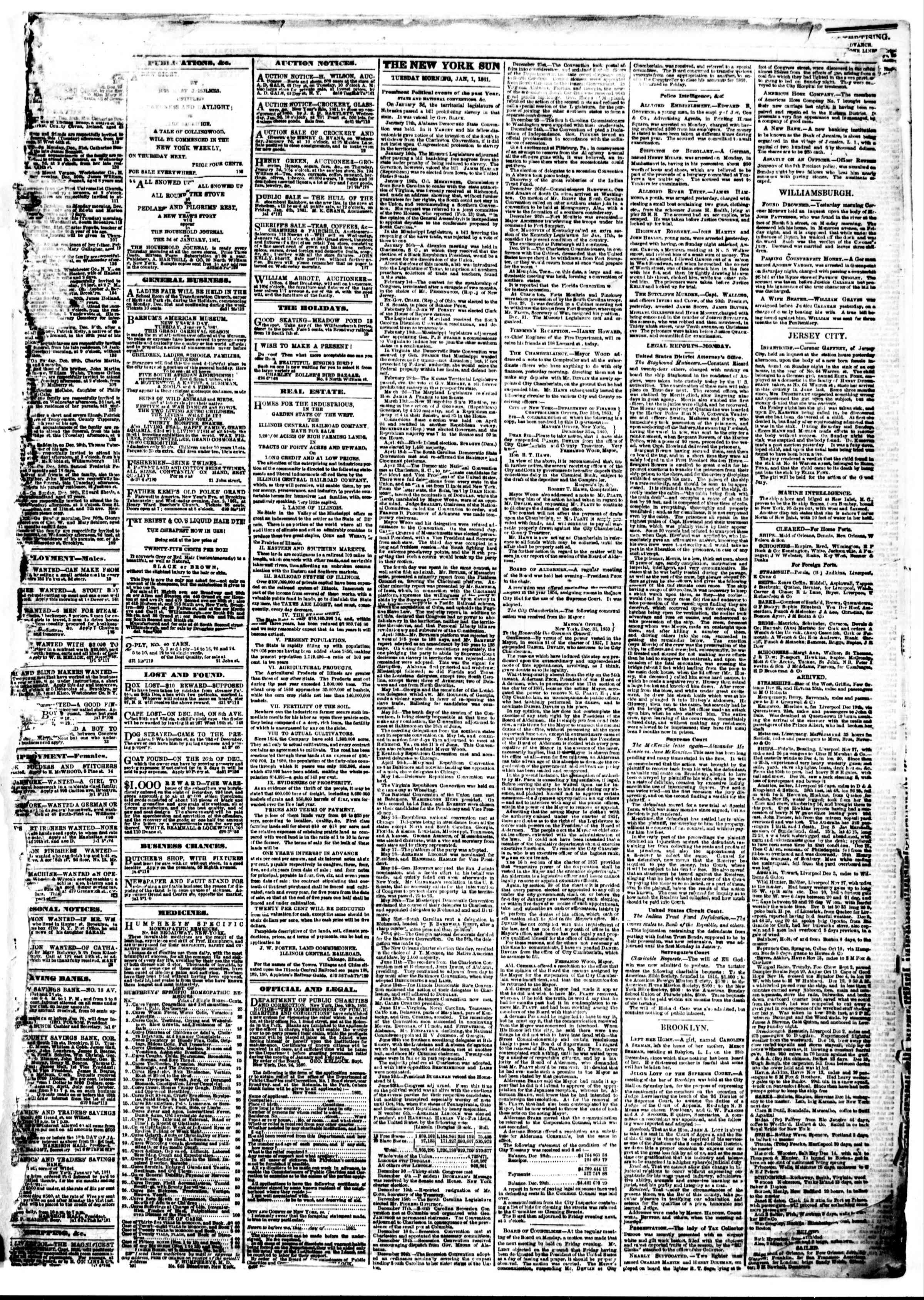 Newspaper of The Sun dated January 1, 1861 Page 3