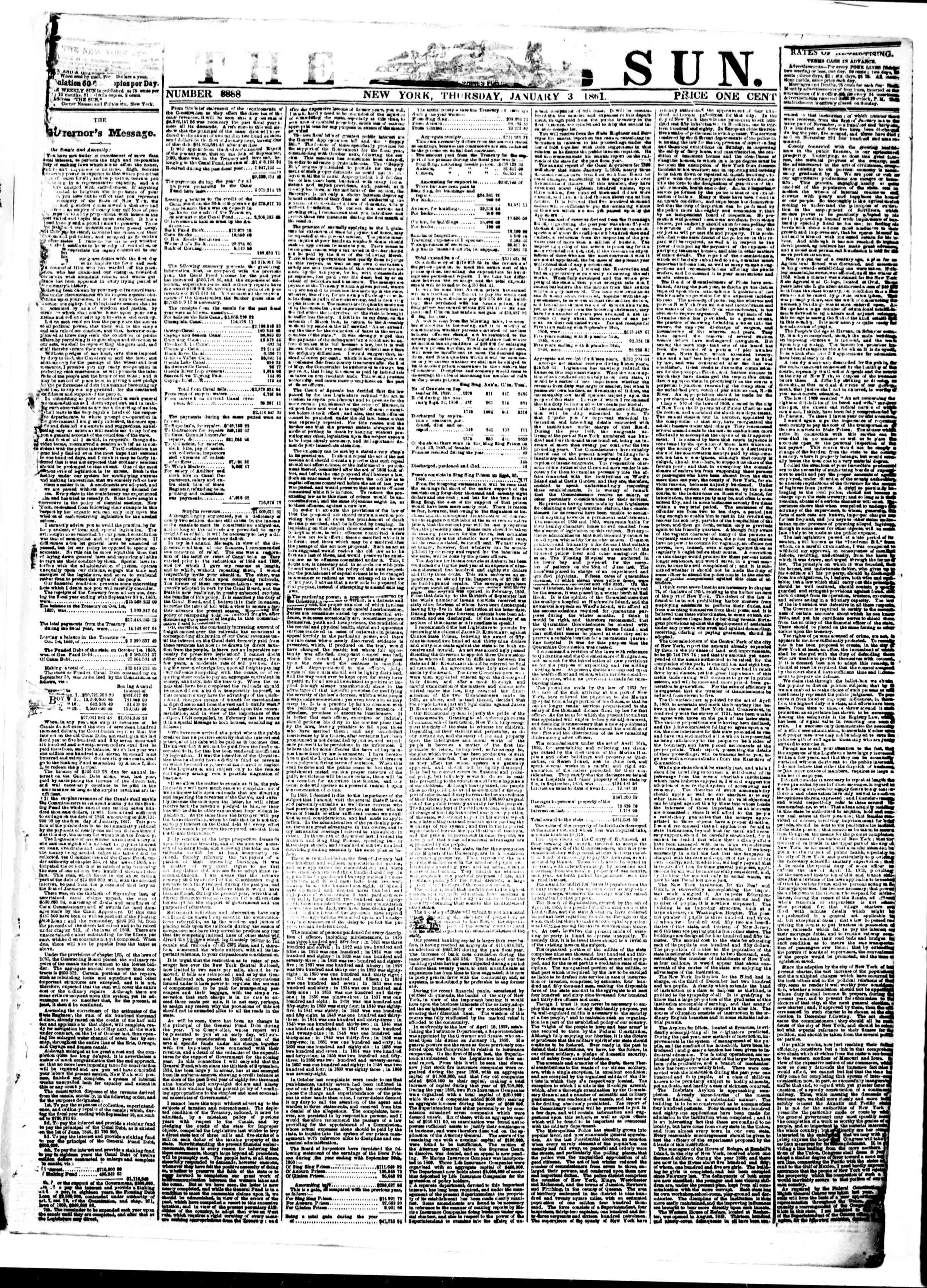 Newspaper of The Sun dated January 3, 1861 Page 1