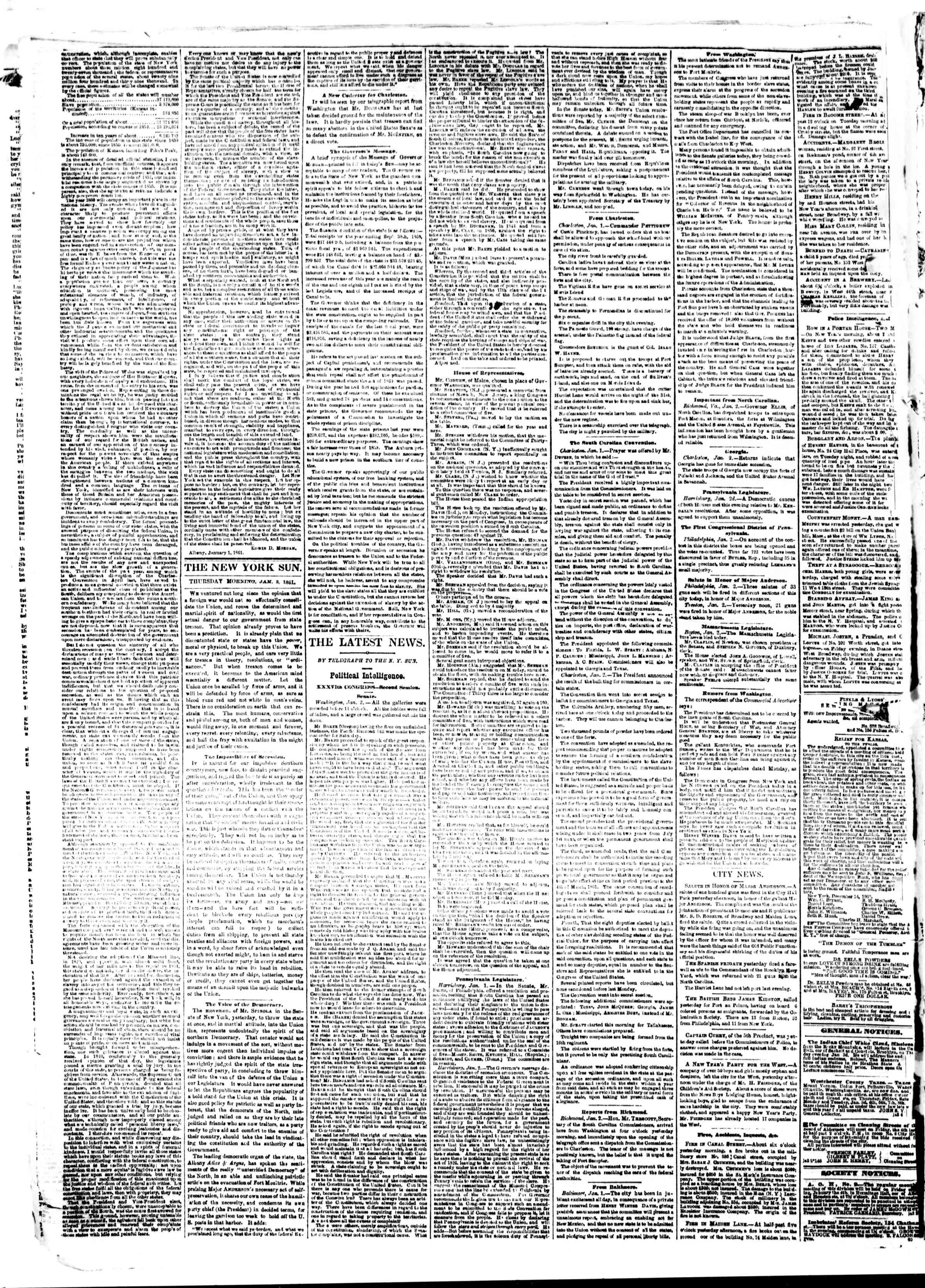 Newspaper of The Sun dated January 3, 1861 Page 2