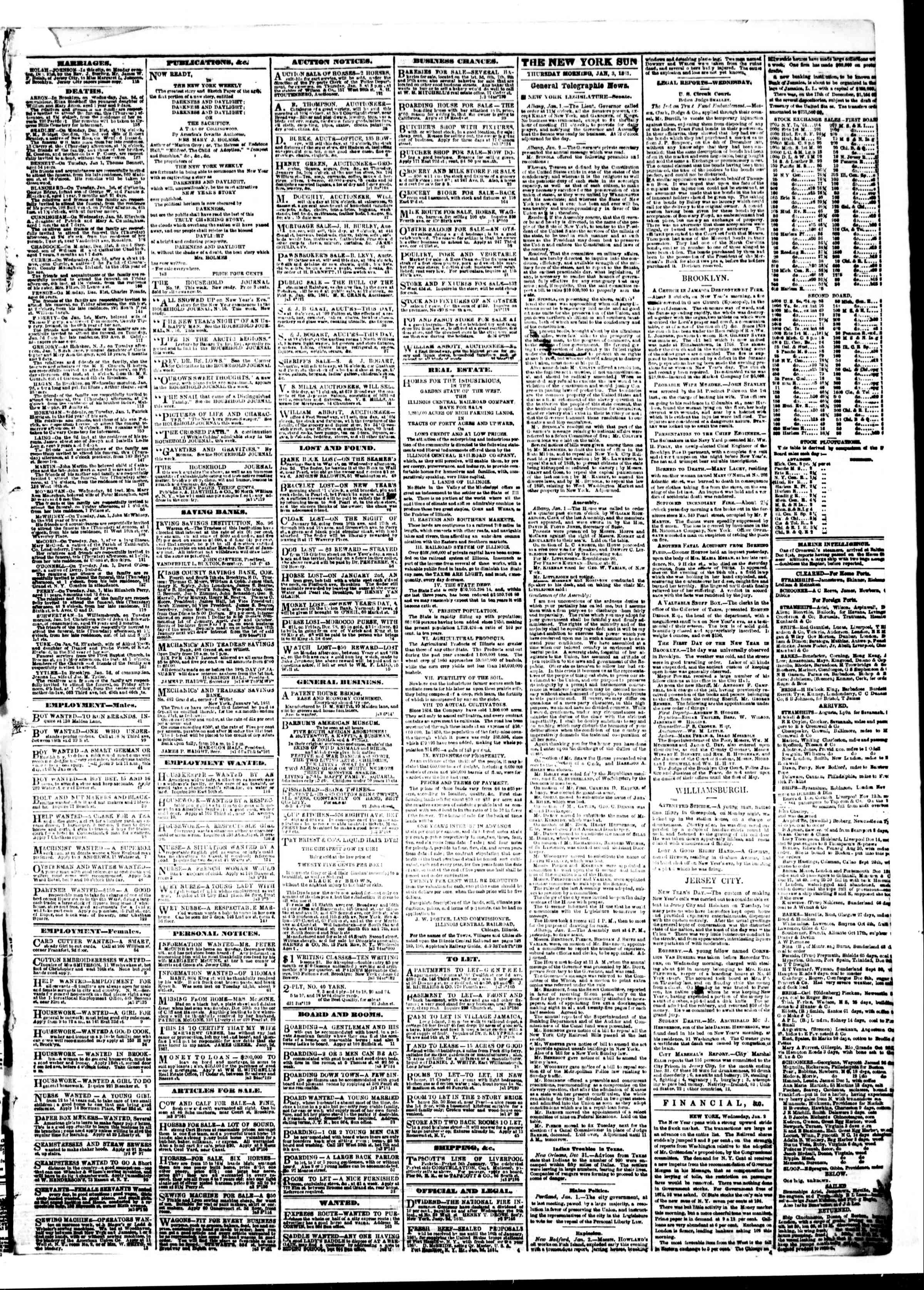 3 Ocak 1861 tarihli The Sun Gazetesi Sayfa 3