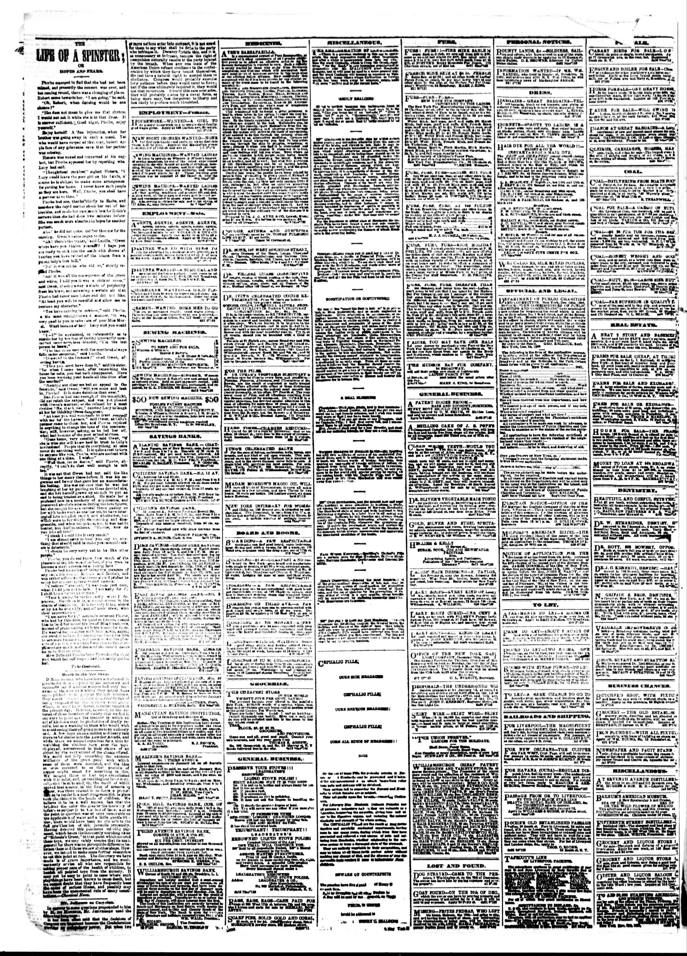 Newspaper of The Sun dated January 3, 1861 Page 4