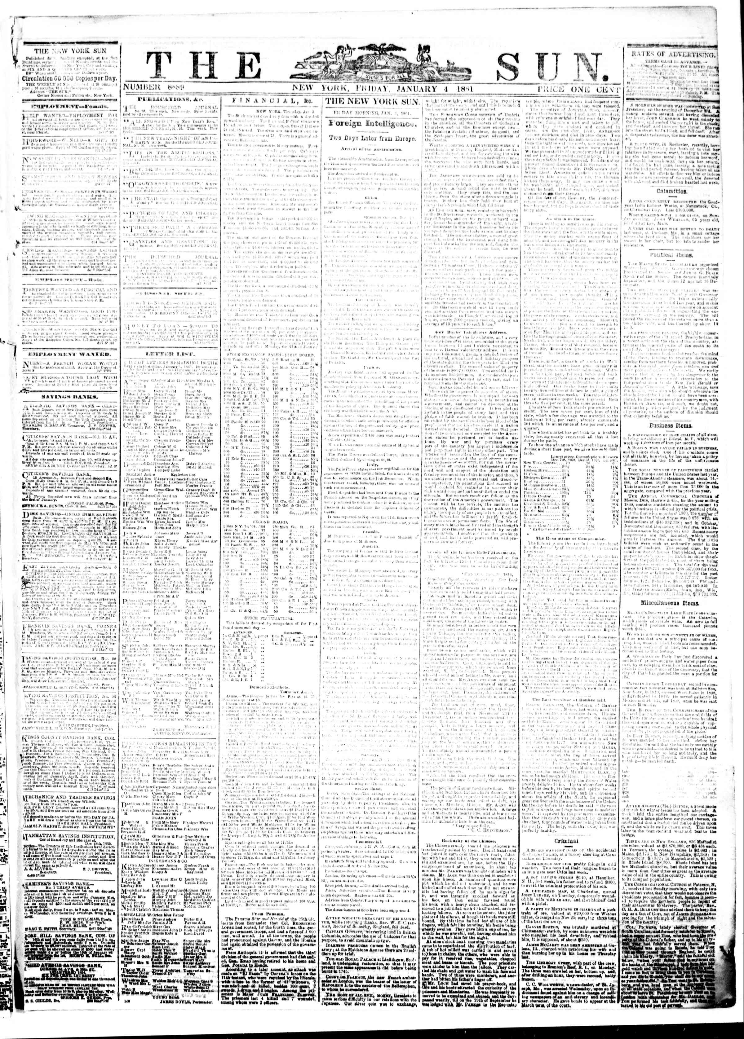 Newspaper of The Sun dated January 4, 1861 Page 1