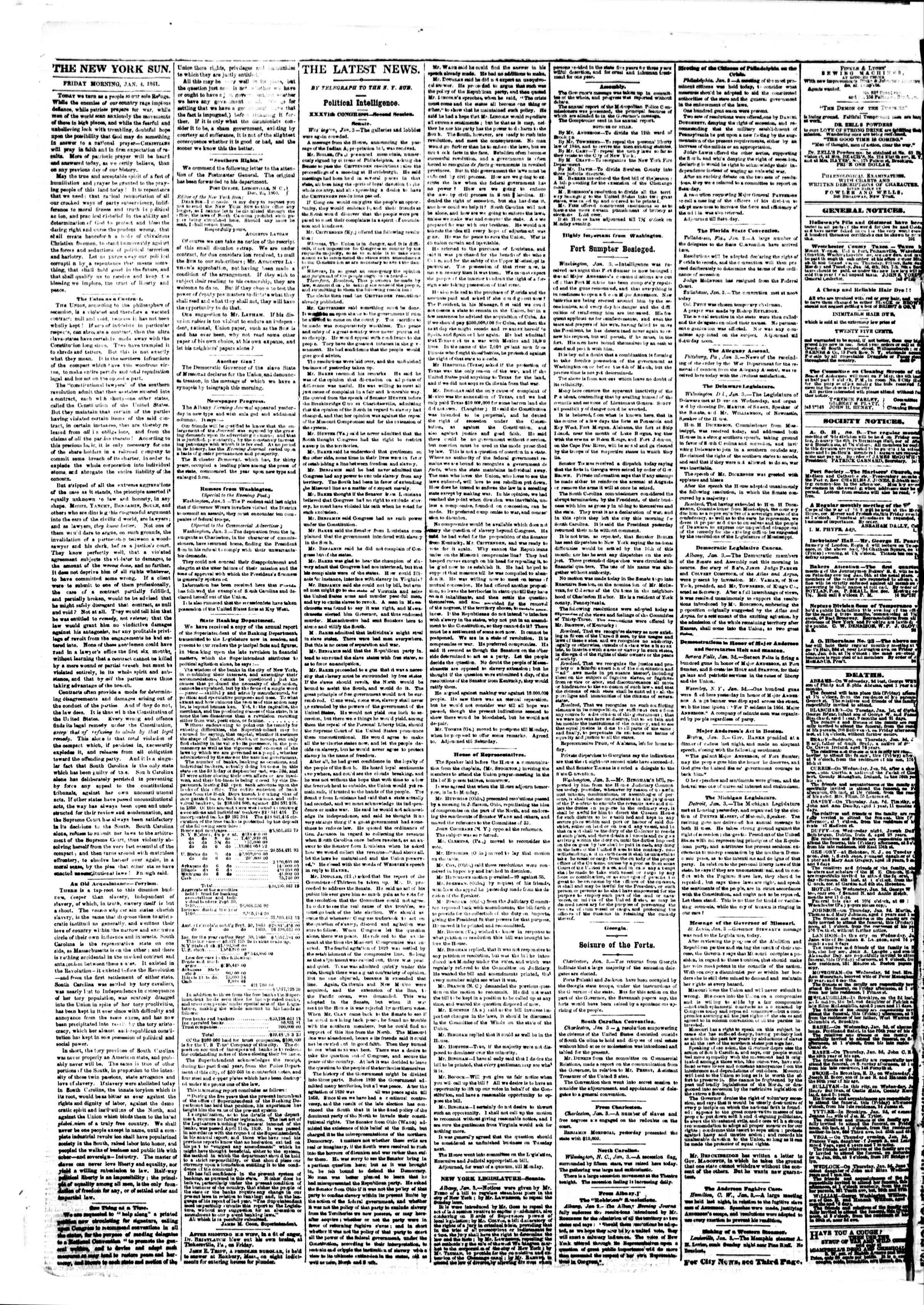 Newspaper of The Sun dated January 4, 1861 Page 2