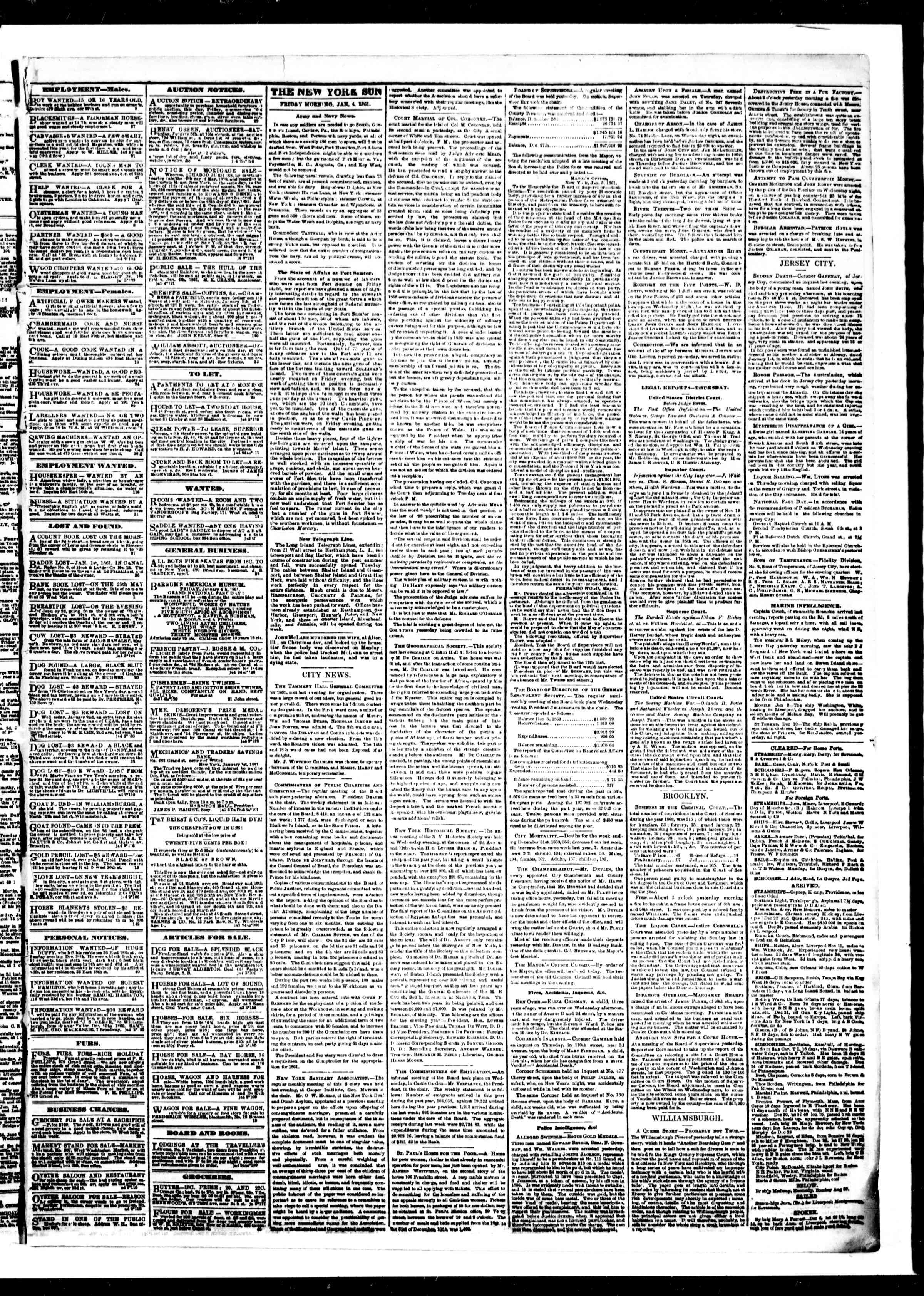 Newspaper of The Sun dated January 4, 1861 Page 3