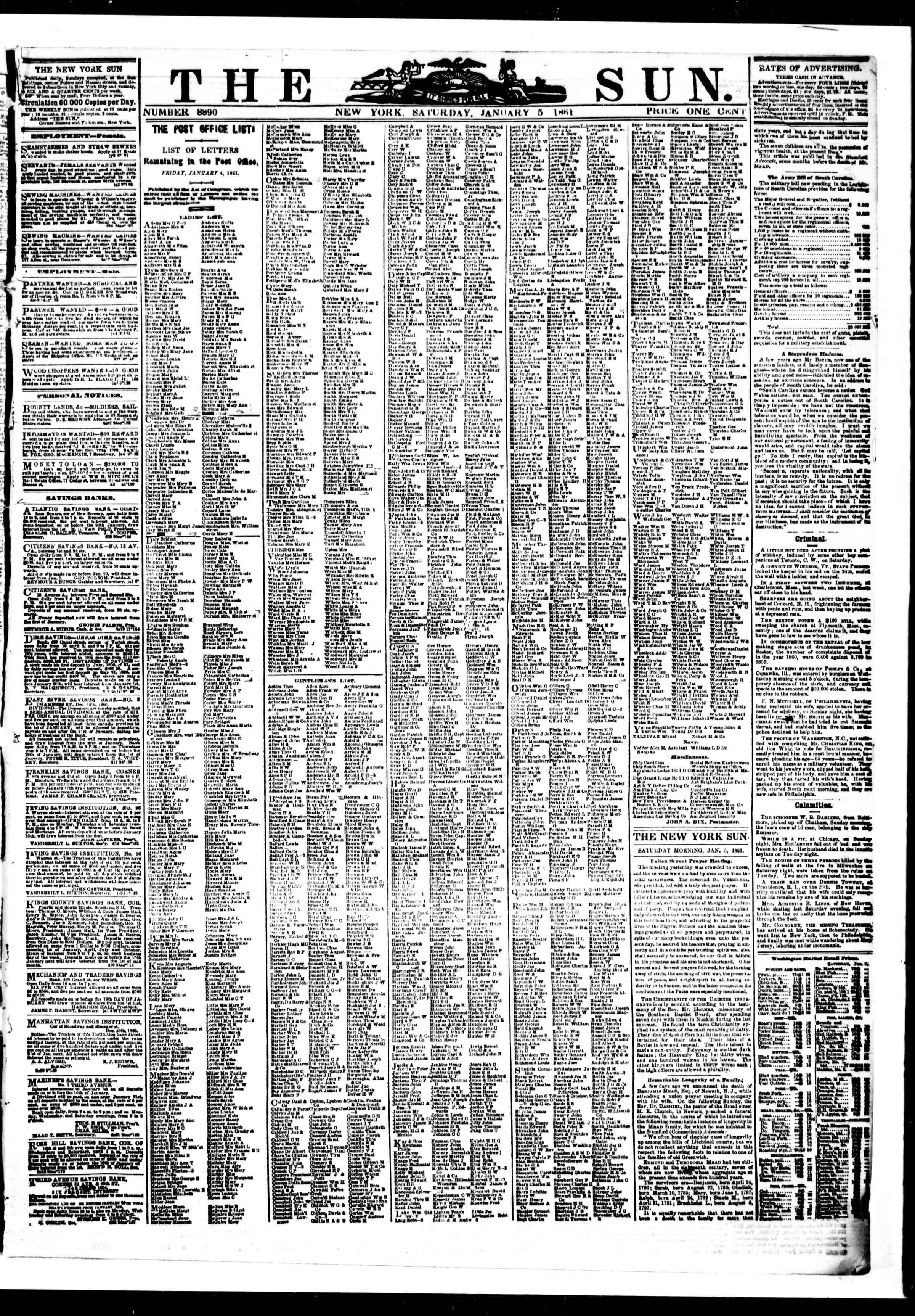 Newspaper of The Sun dated January 5, 1861 Page 1