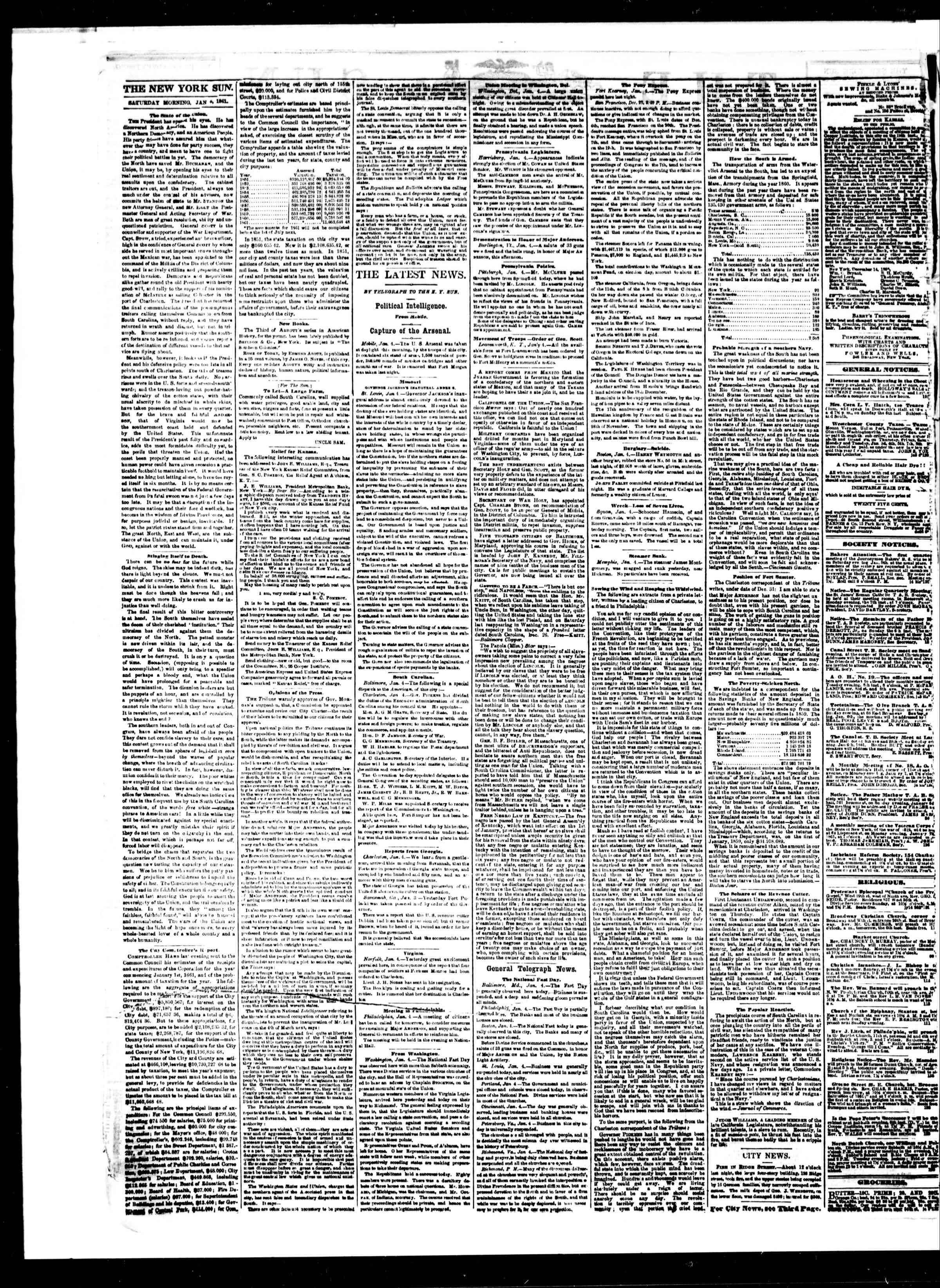 Newspaper of The Sun dated January 5, 1861 Page 2