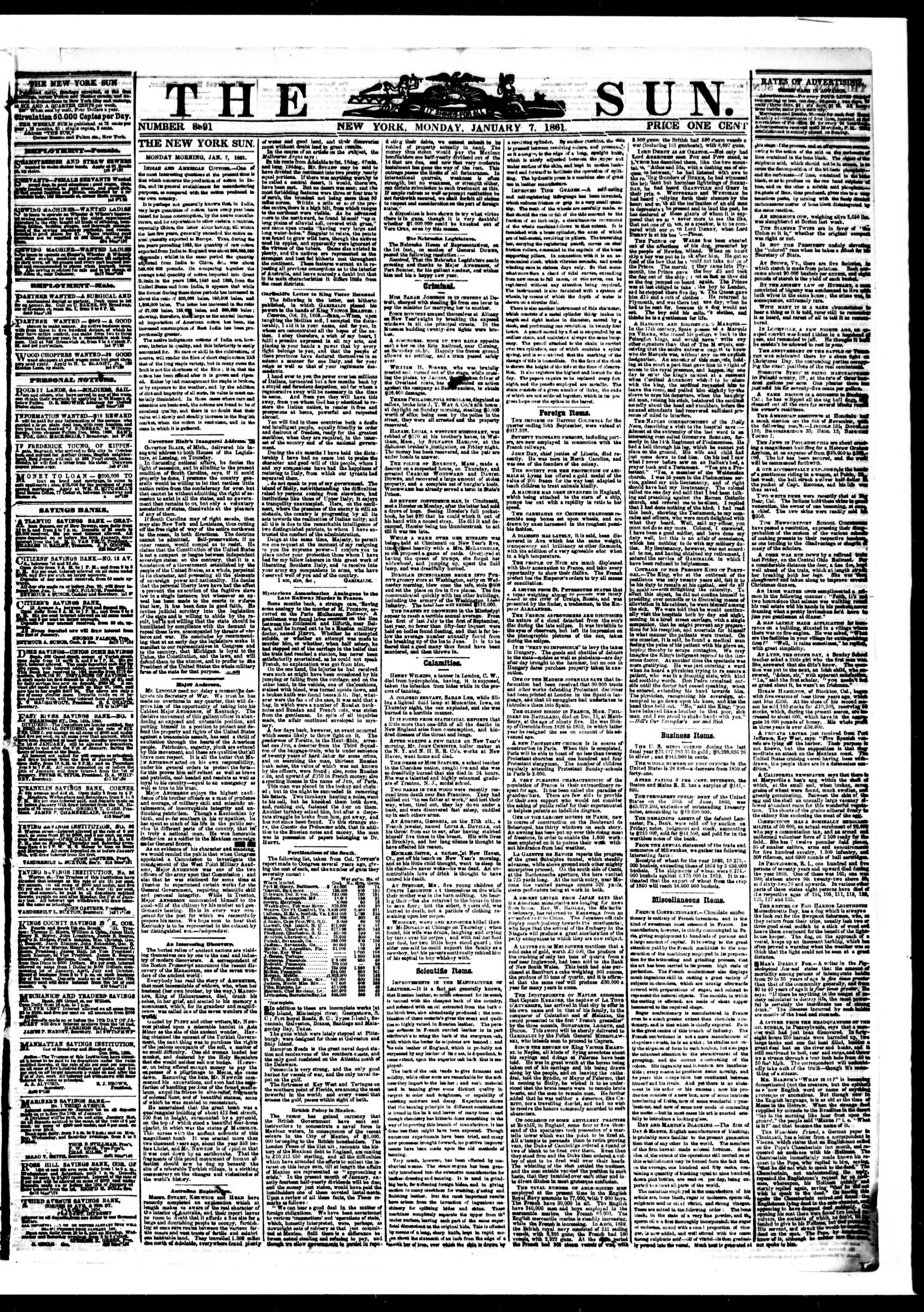 Newspaper of The Sun dated January 7, 1861 Page 1