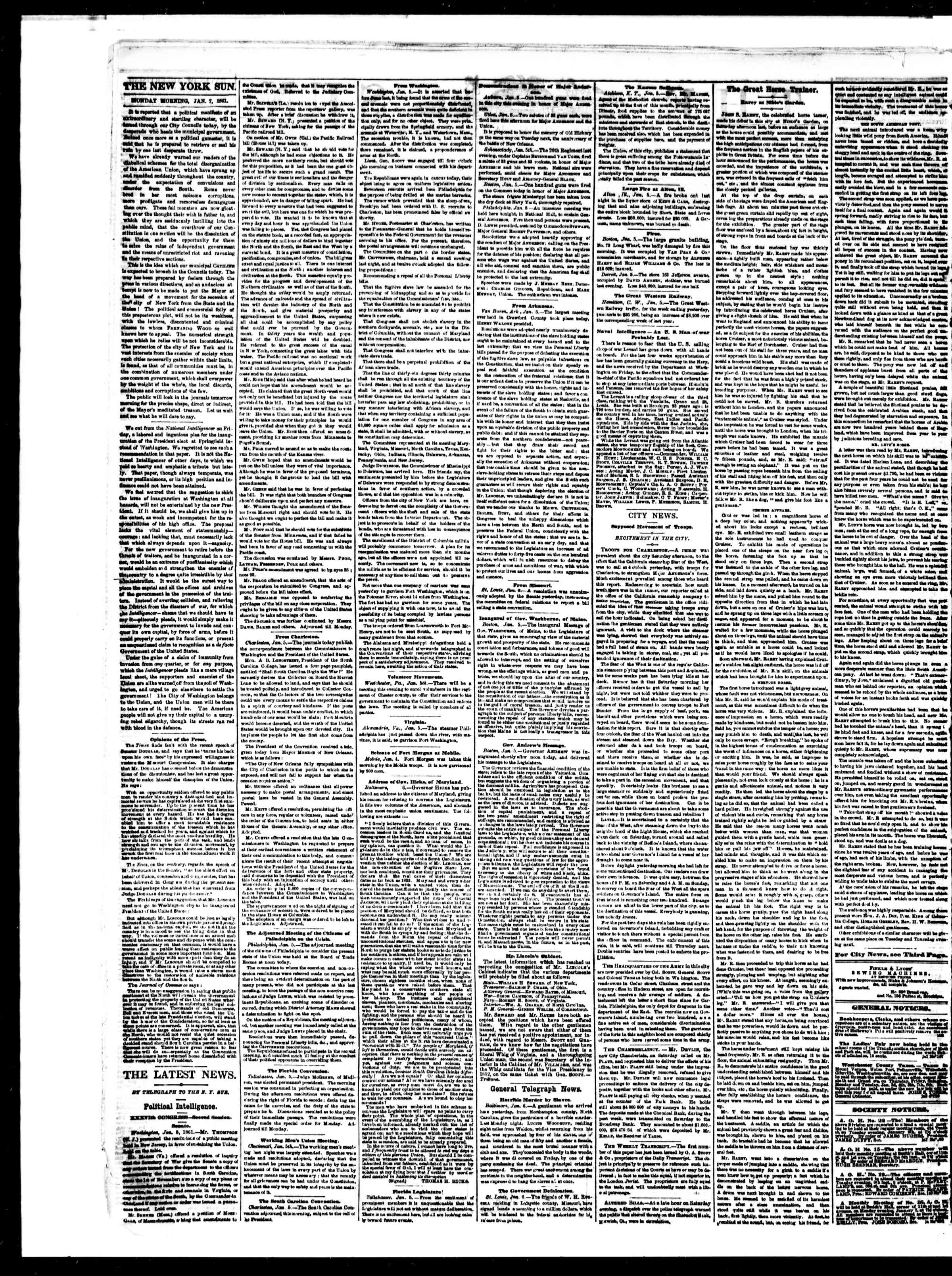 Newspaper of The Sun dated January 7, 1861 Page 2