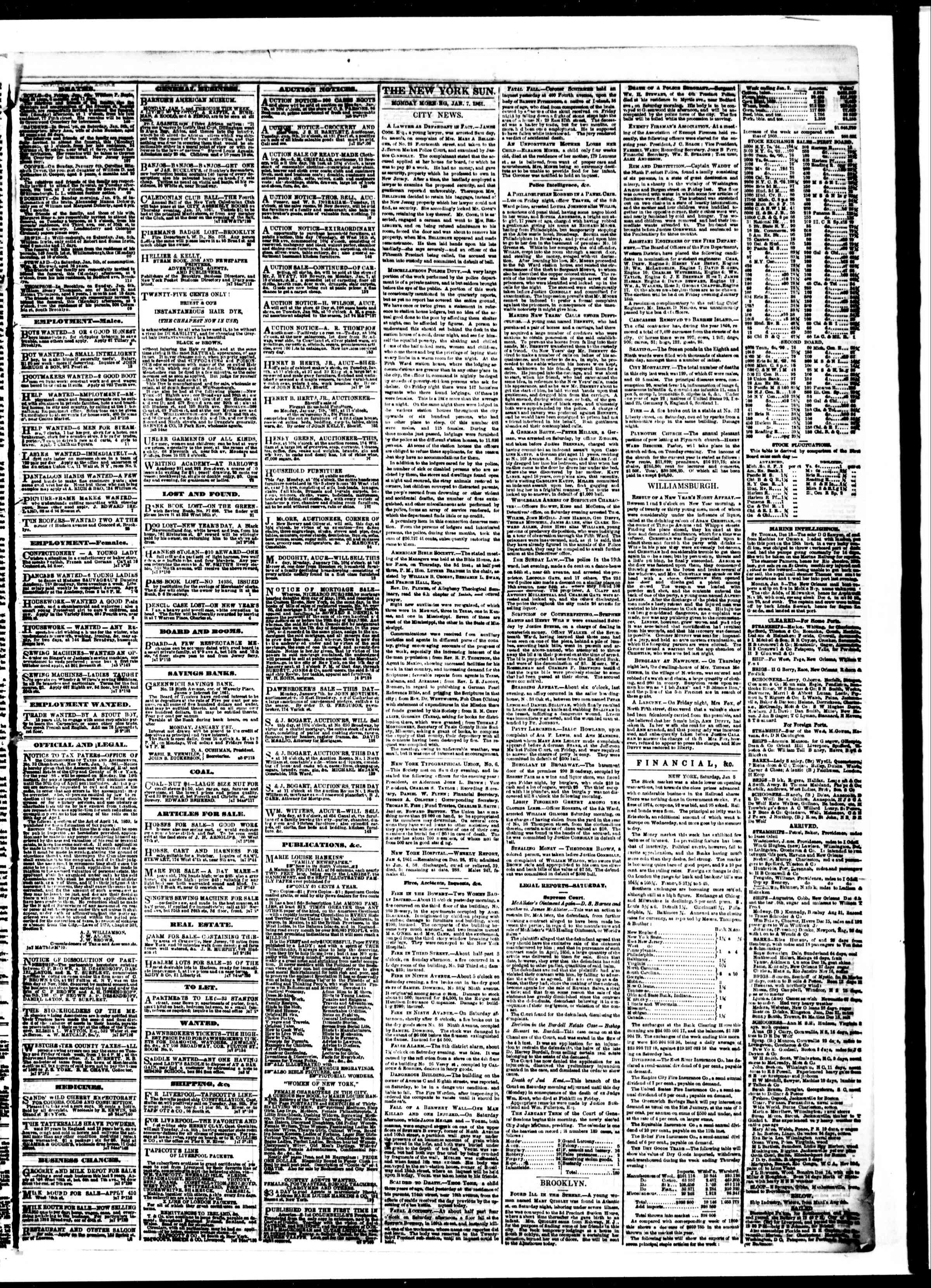 Newspaper of The Sun dated January 7, 1861 Page 3