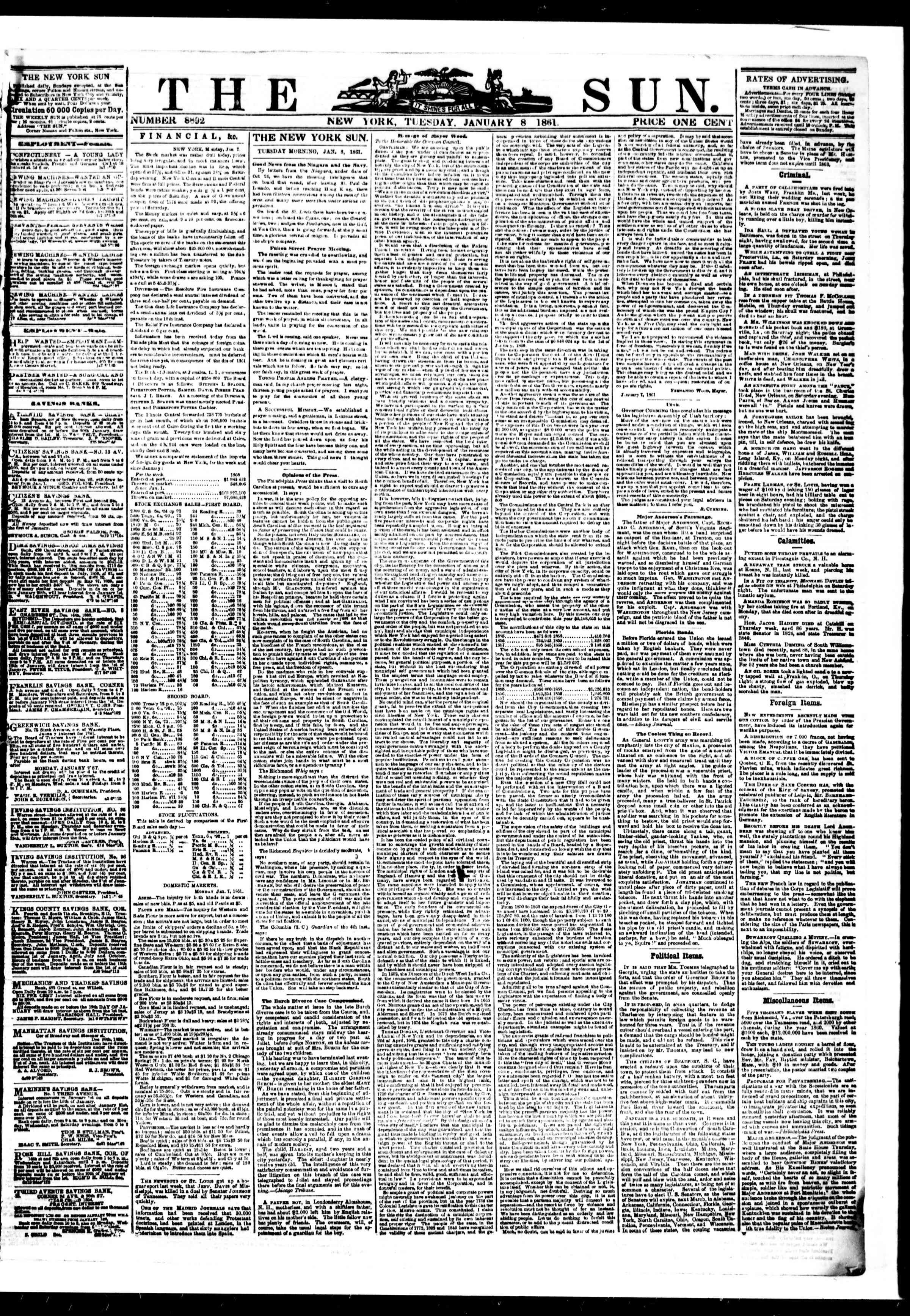 Newspaper of The Sun dated January 8, 1861 Page 1
