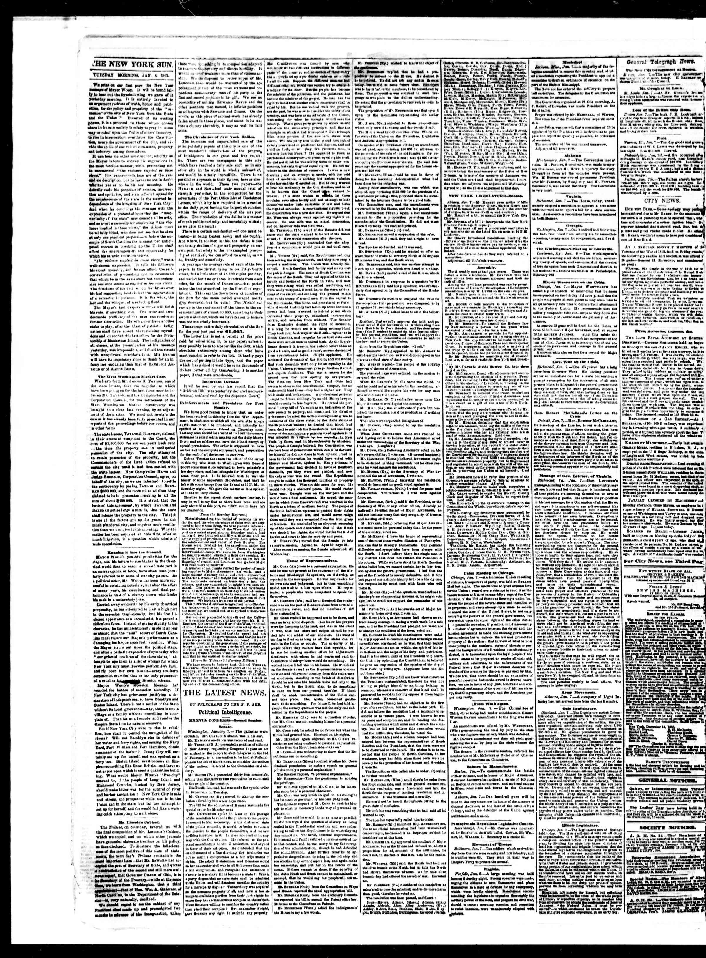 Newspaper of The Sun dated January 8, 1861 Page 2