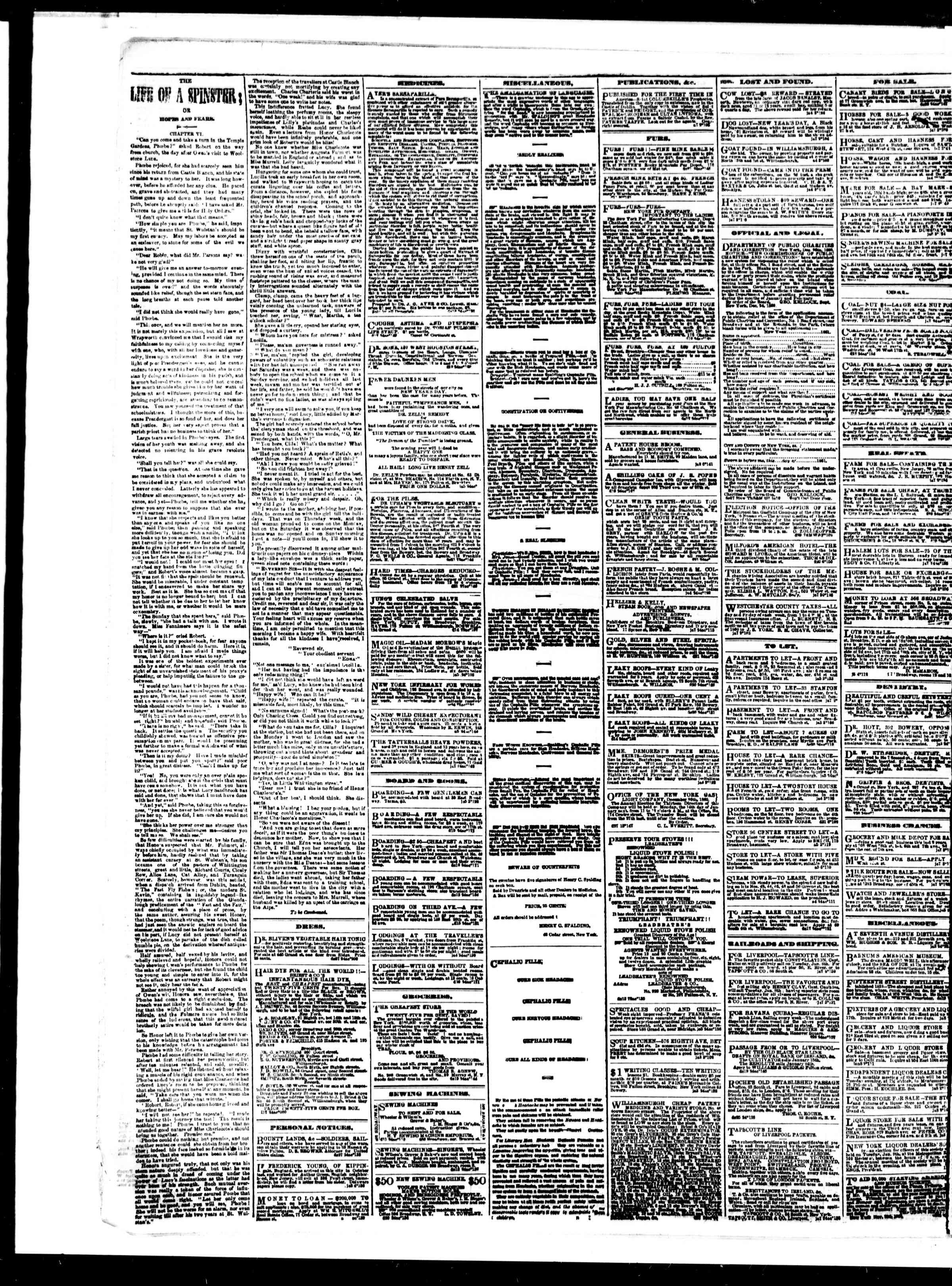 Newspaper of The Sun dated January 8, 1861 Page 4