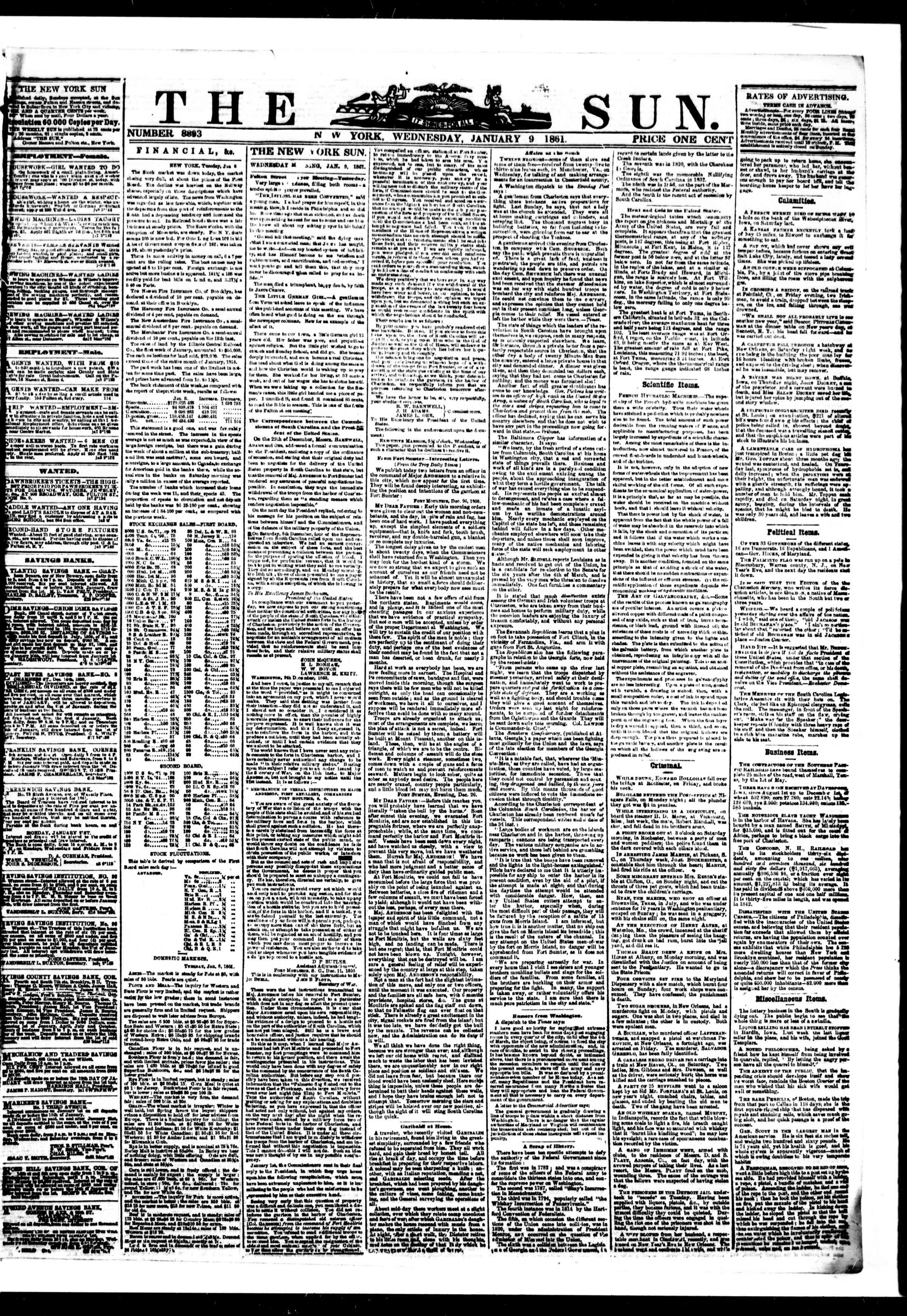 Newspaper of The Sun dated January 9, 1861 Page 1