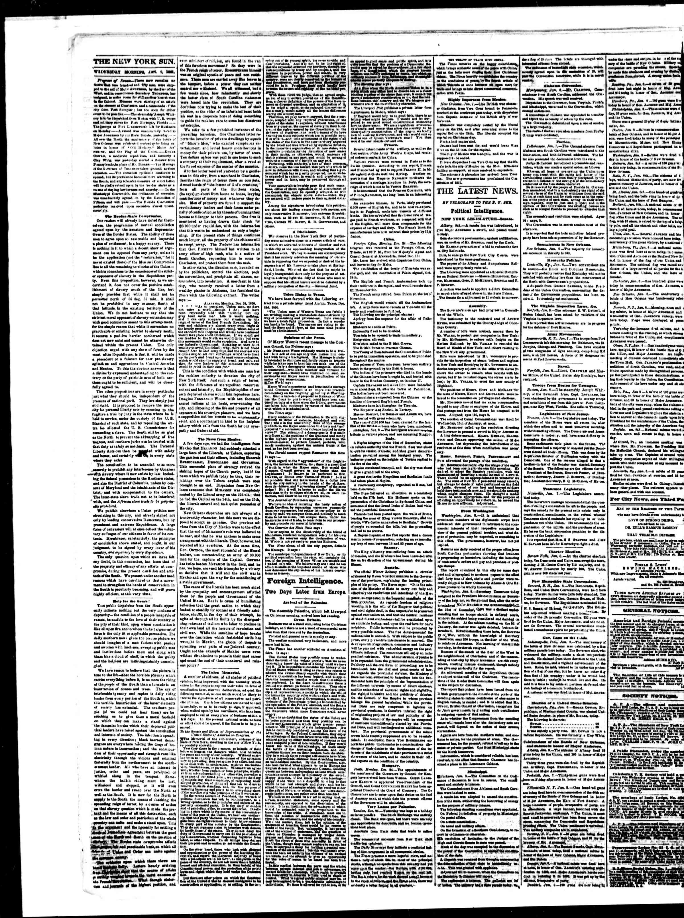 Newspaper of The Sun dated January 9, 1861 Page 2