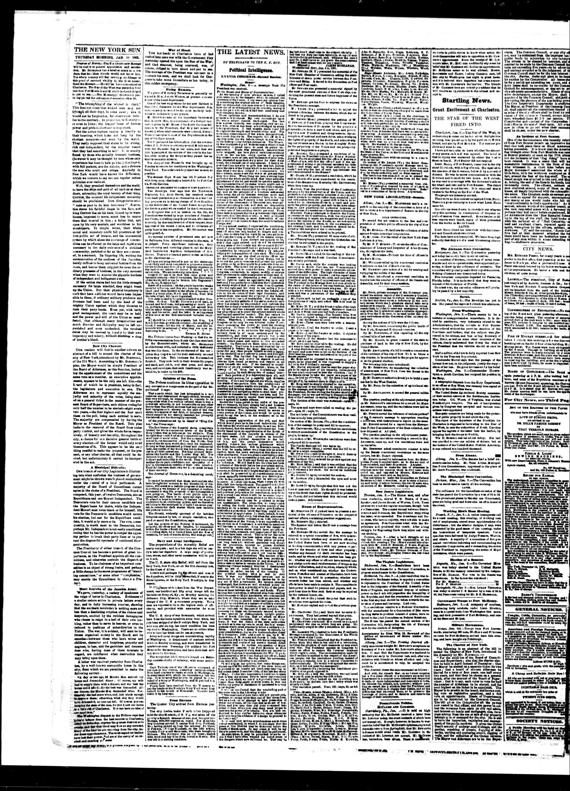 Newspaper of The Sun dated January 10, 1861 Page 2