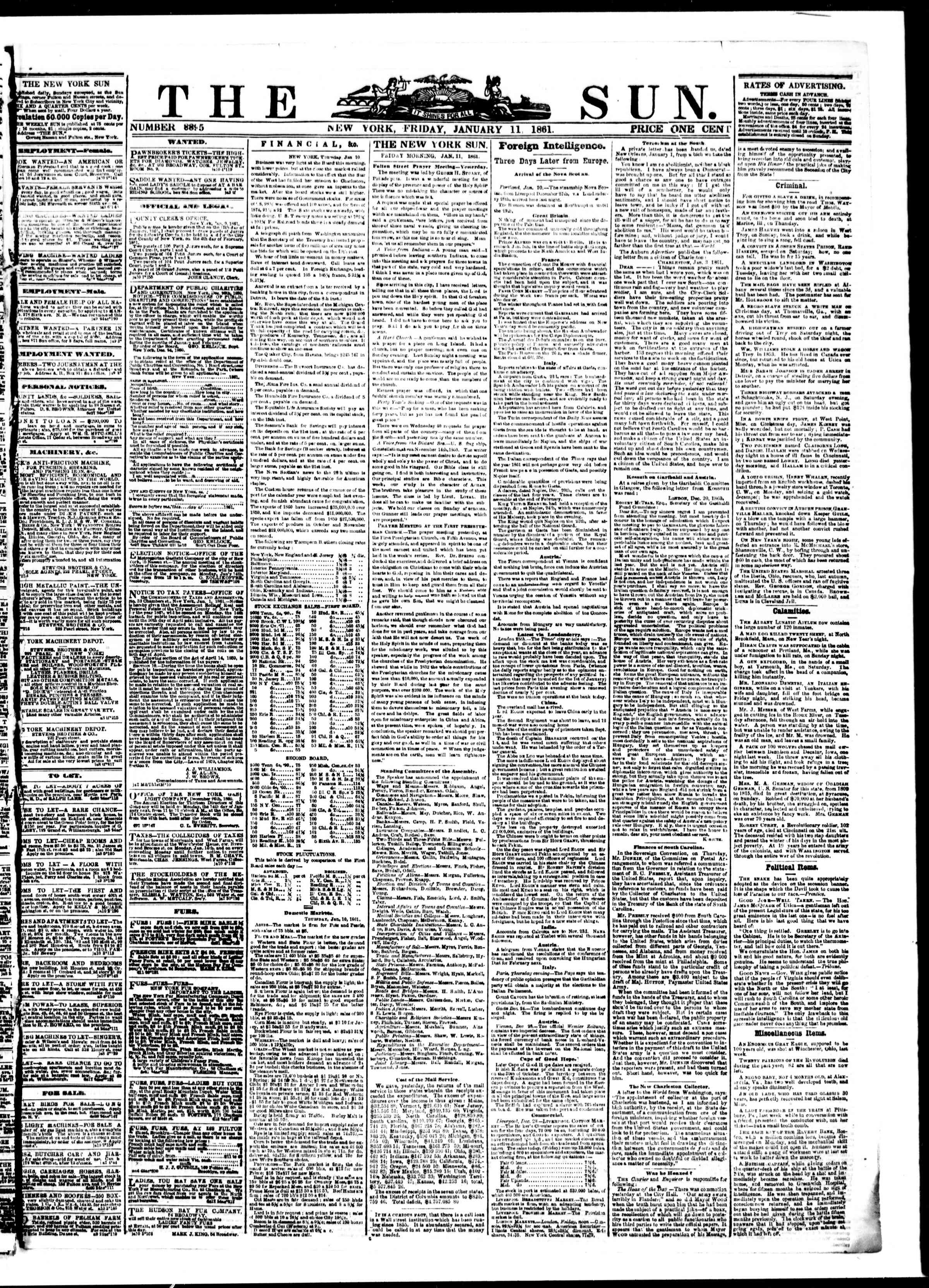 Newspaper of The Sun dated January 11, 1861 Page 1