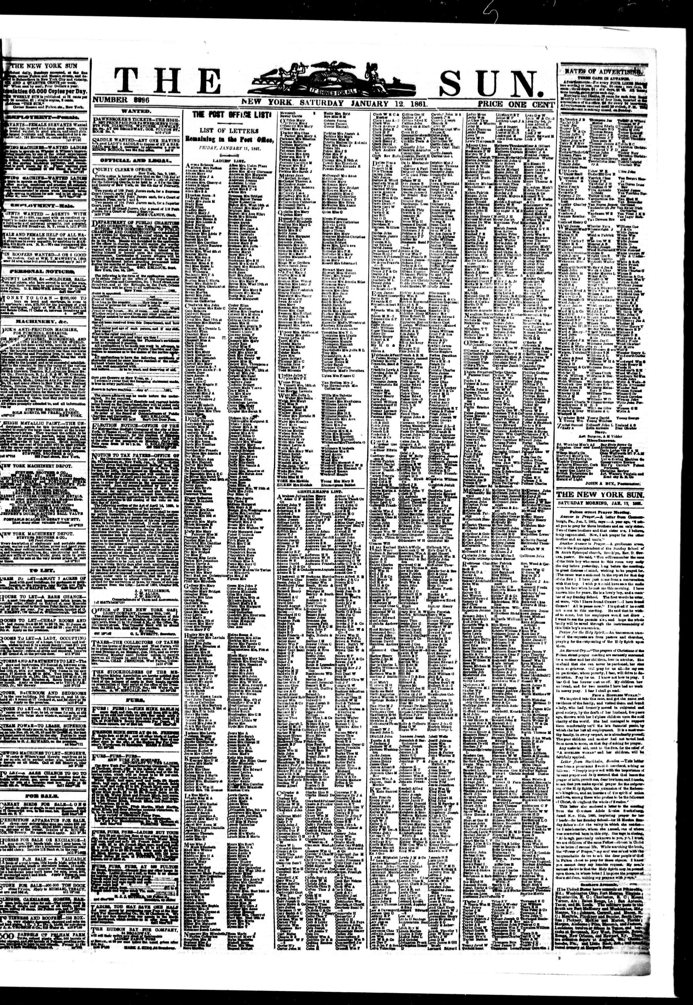 Newspaper of The Sun dated January 12, 1861 Page 1