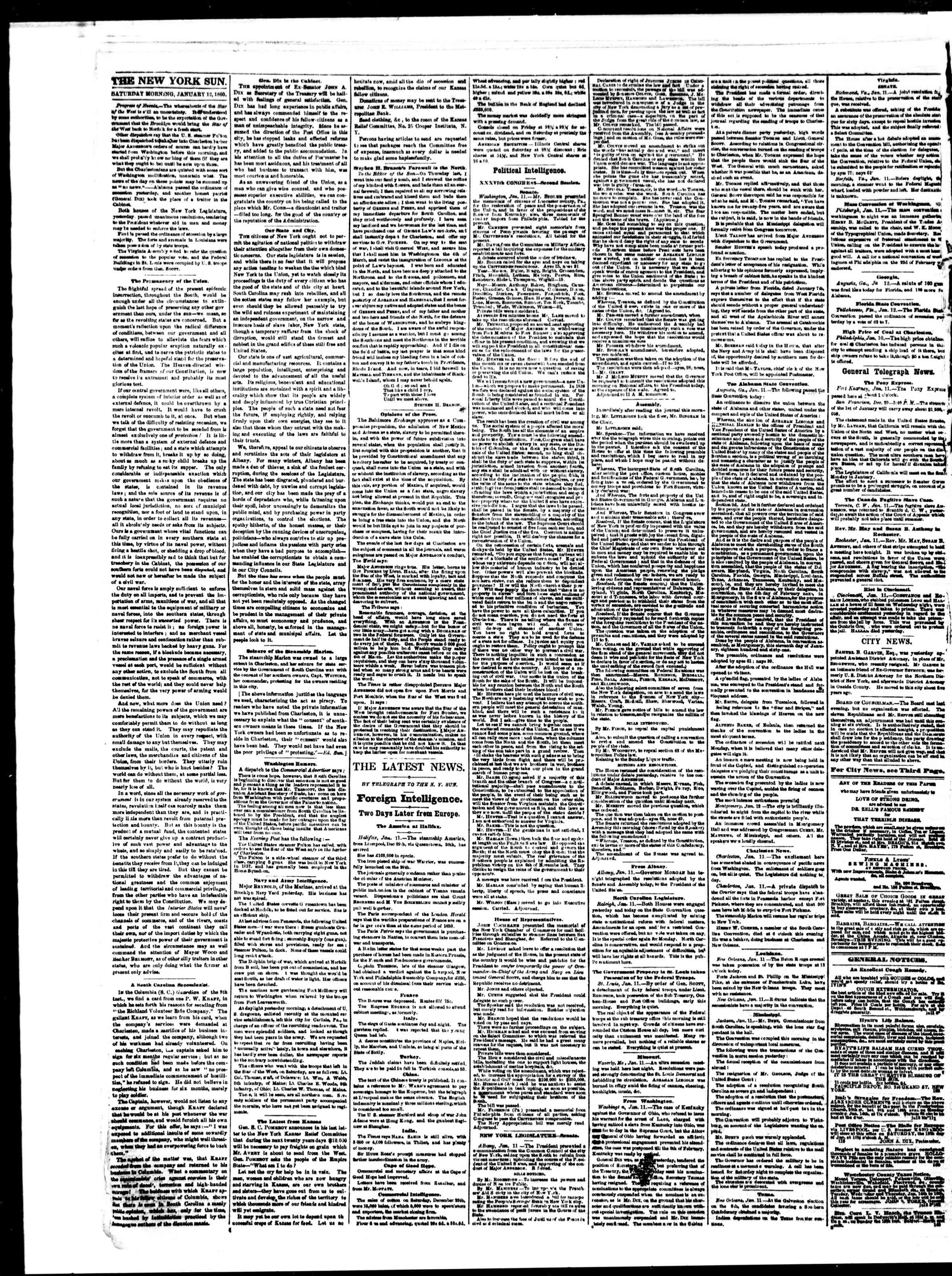 Newspaper of The Sun dated January 12, 1861 Page 2