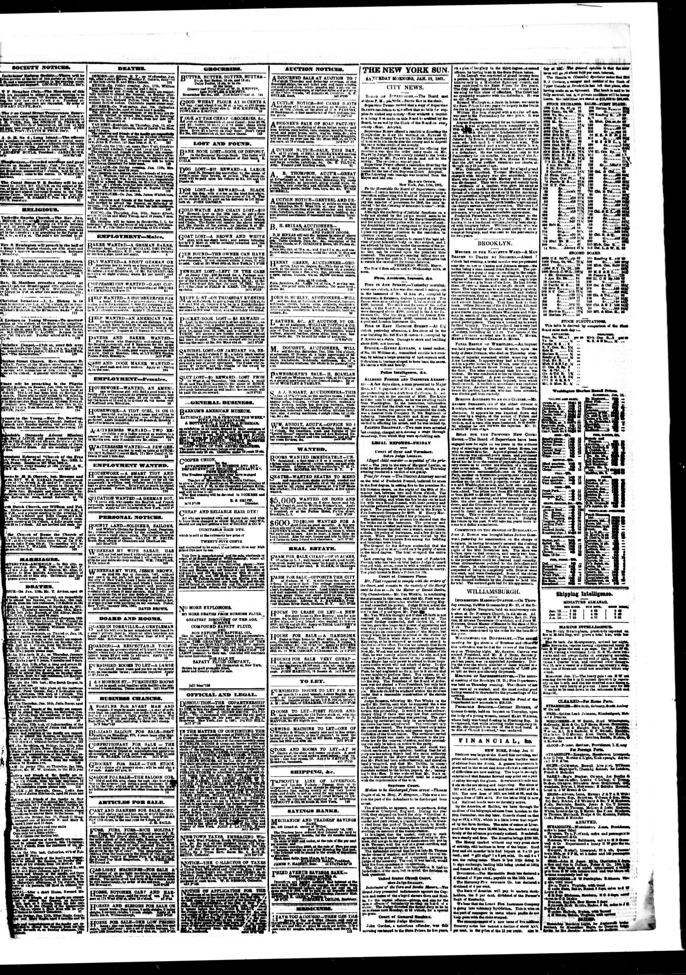 Newspaper of The Sun dated January 12, 1861 Page 3