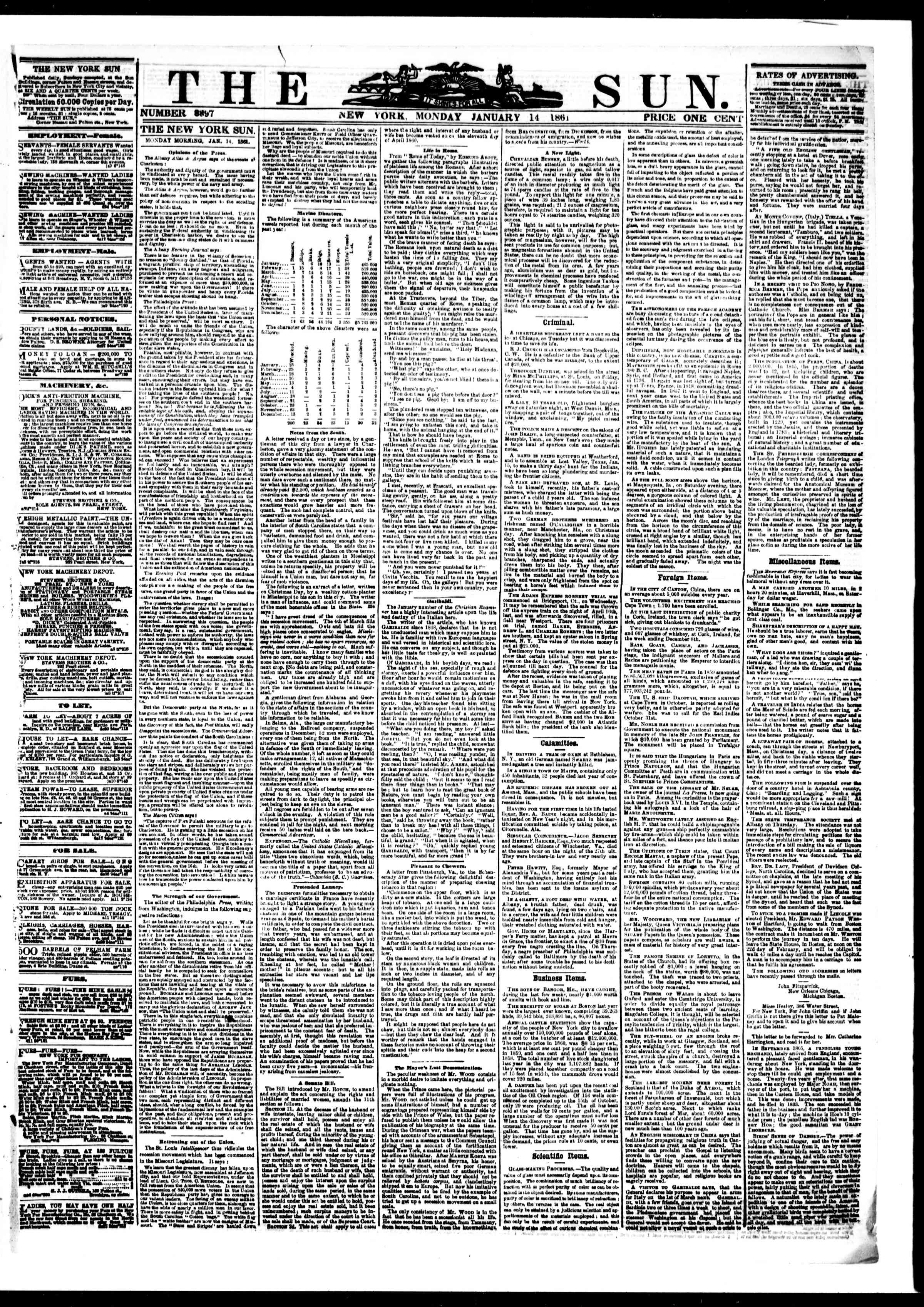 Newspaper of The Sun dated January 14, 1861 Page 1