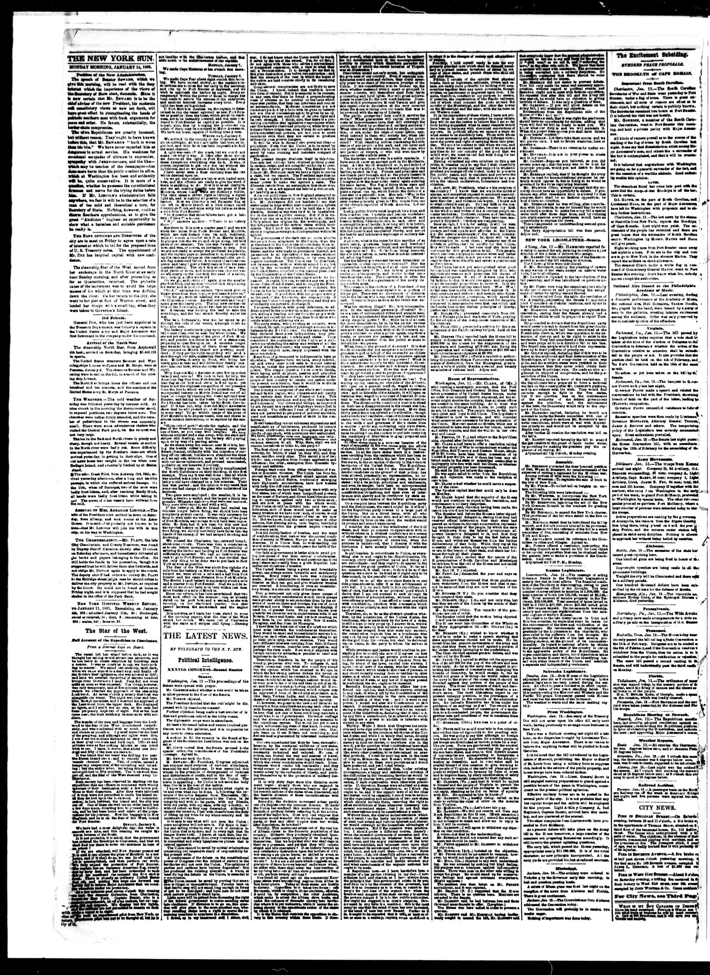 Newspaper of The Sun dated January 14, 1861 Page 2