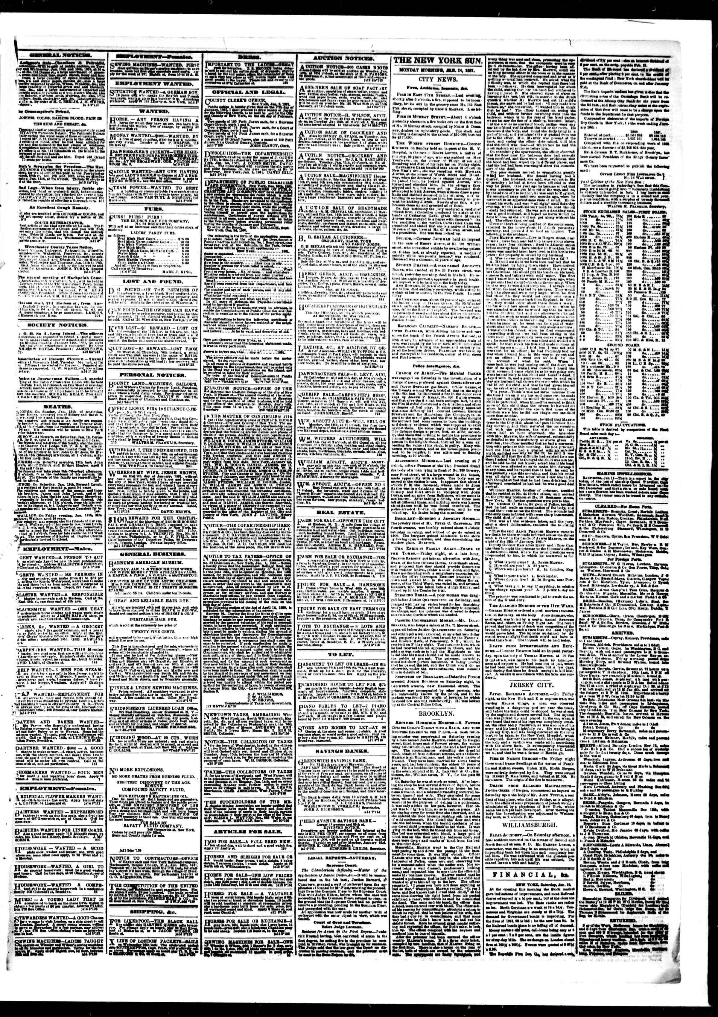 Newspaper of The Sun dated January 14, 1861 Page 3