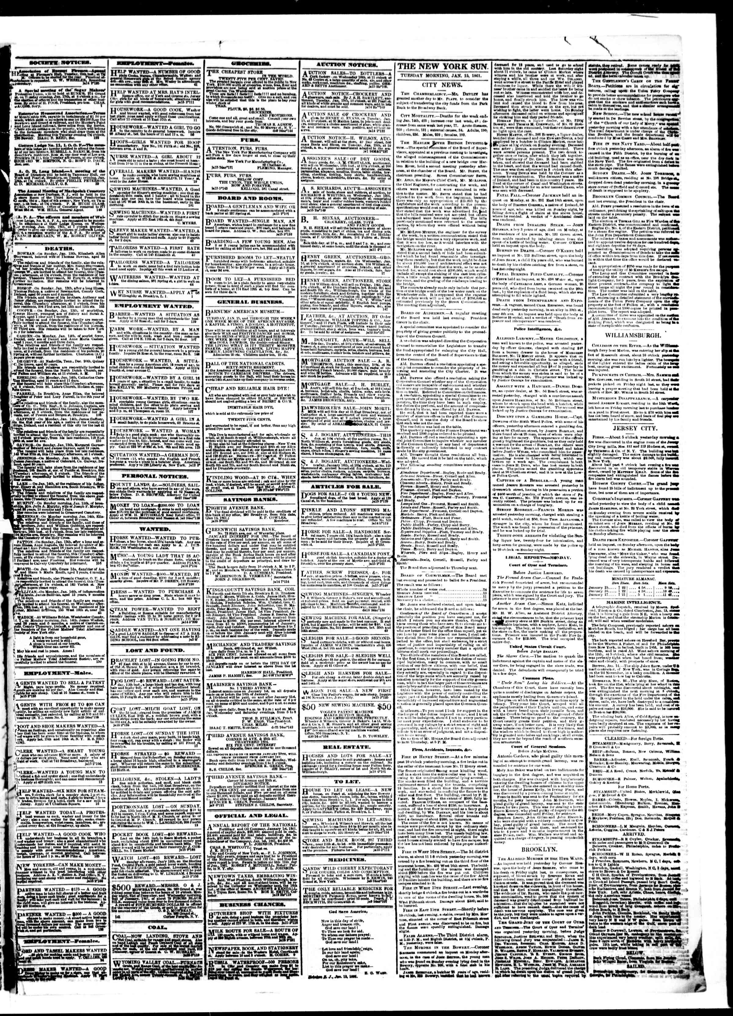 Newspaper of The Sun dated January 15, 1861 Page 3