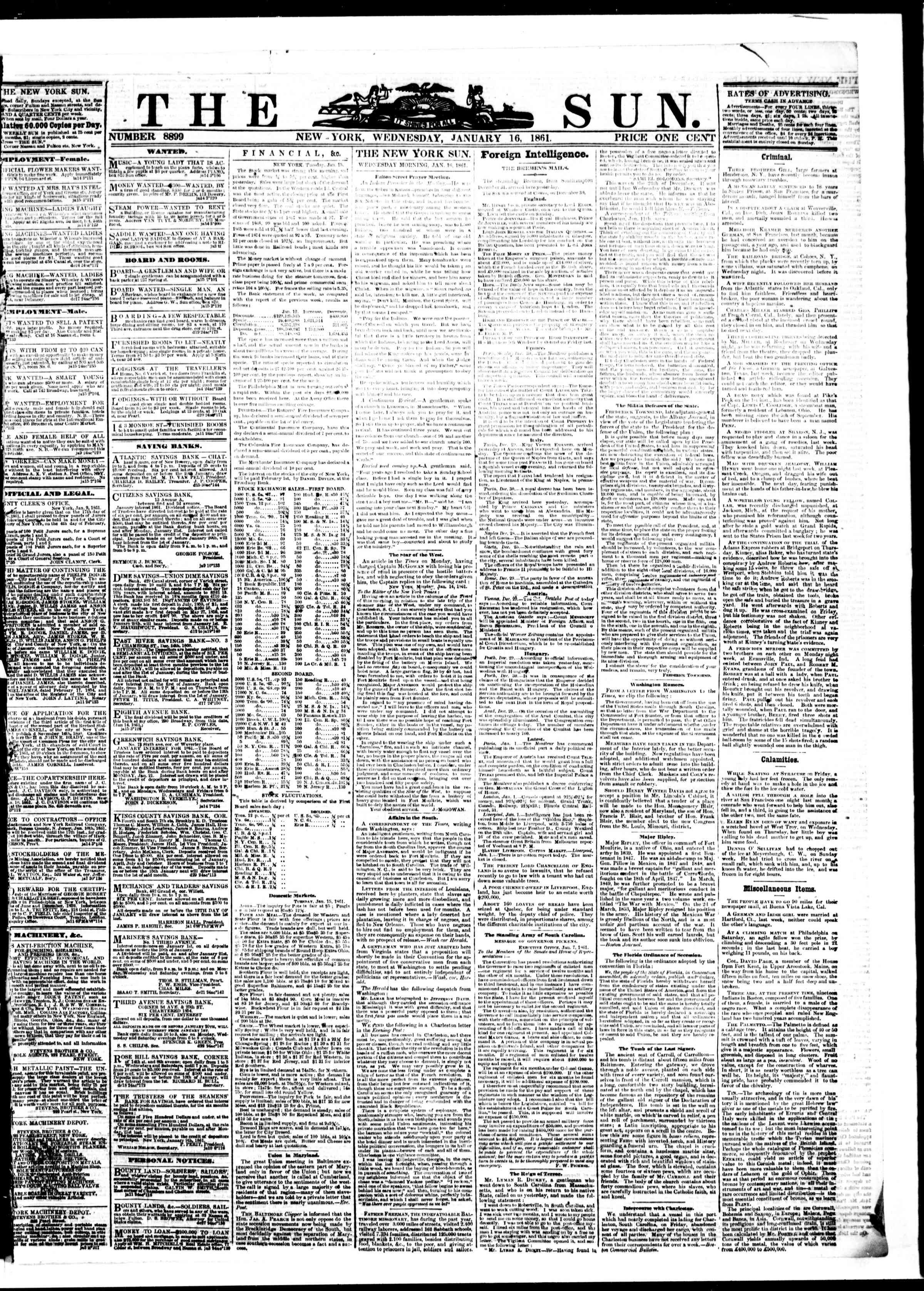 Newspaper of The Sun dated January 16, 1861 Page 1