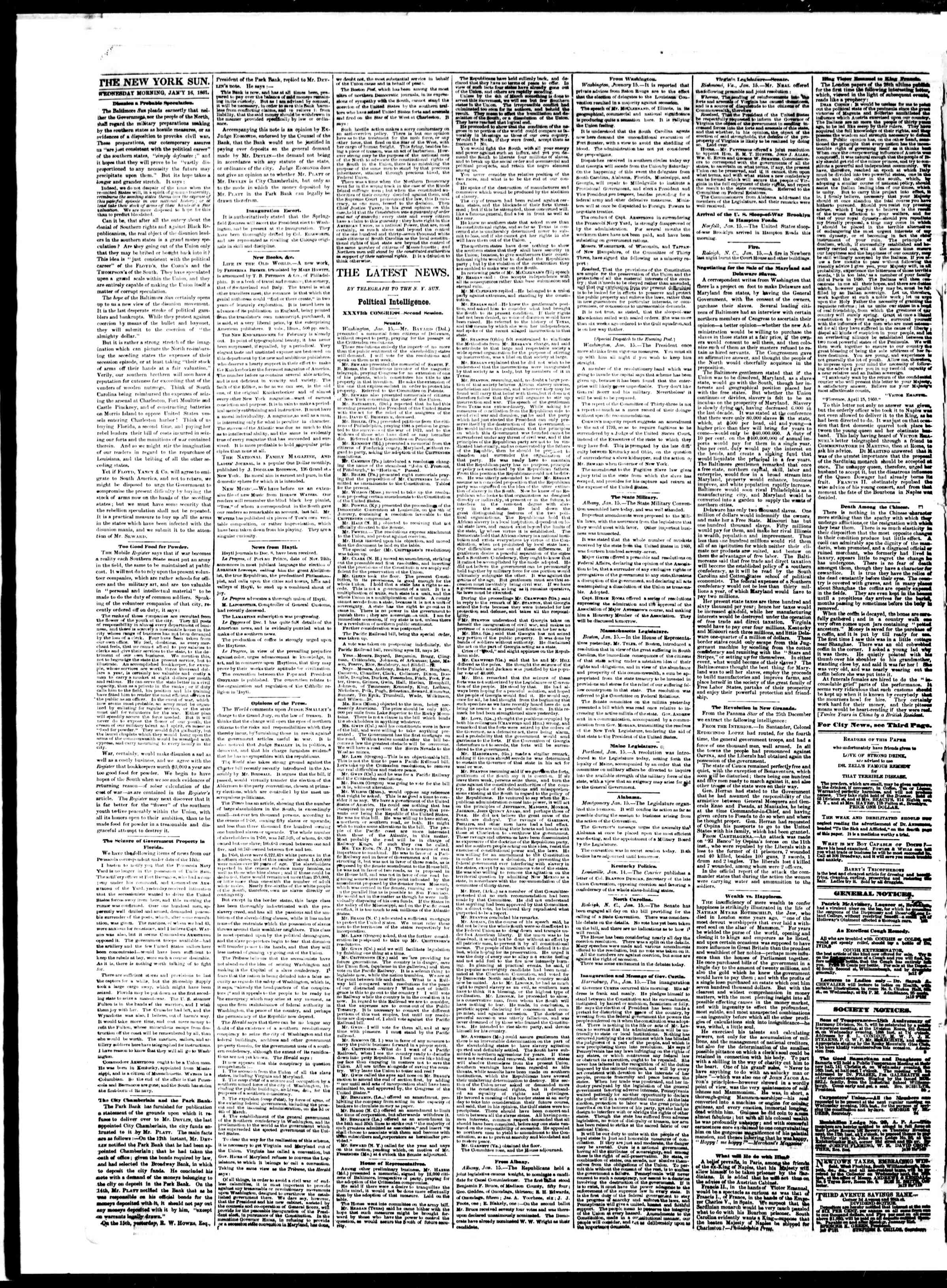 Newspaper of The Sun dated January 16, 1861 Page 2