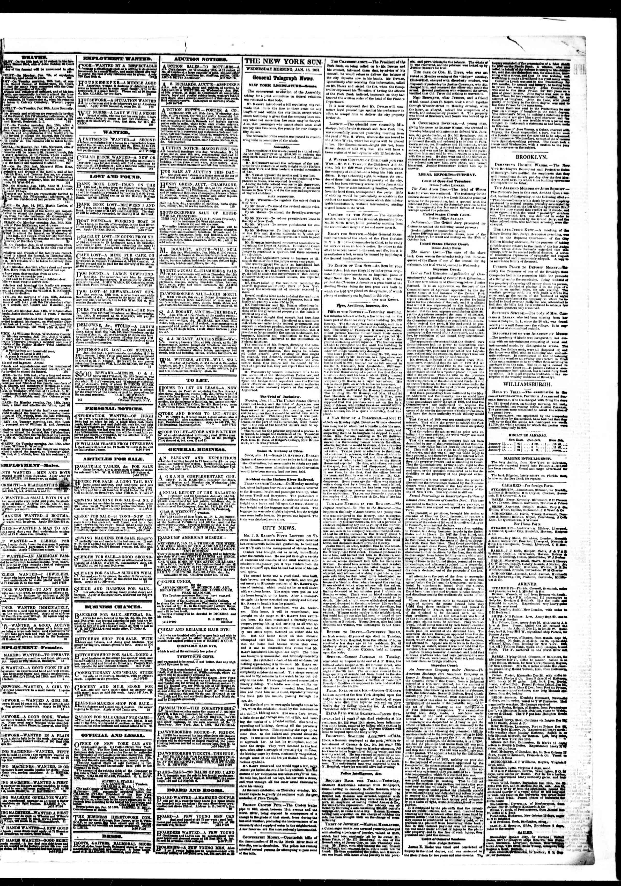 Newspaper of The Sun dated January 16, 1861 Page 3