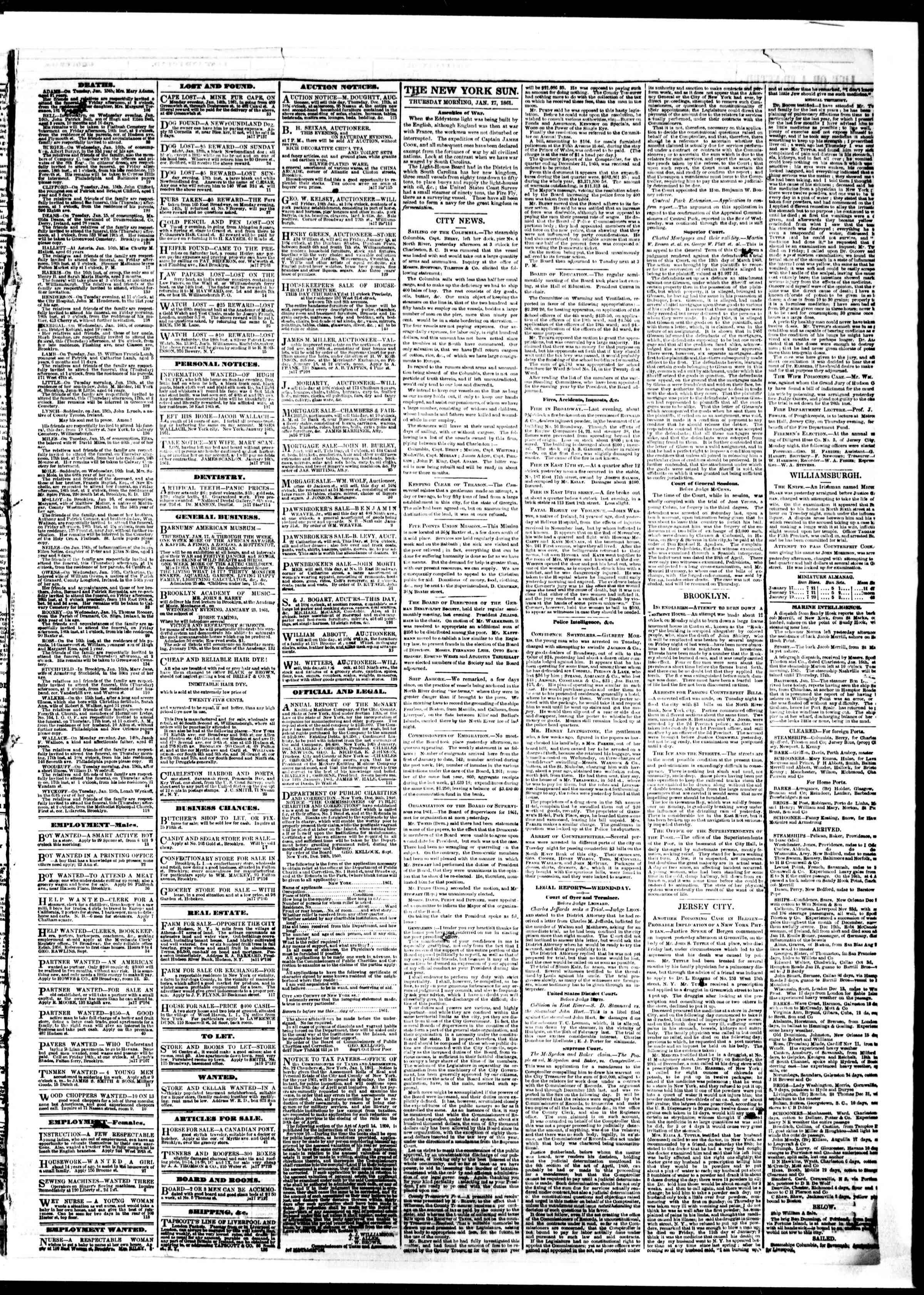 Newspaper of The Sun dated January 17, 1861 Page 3