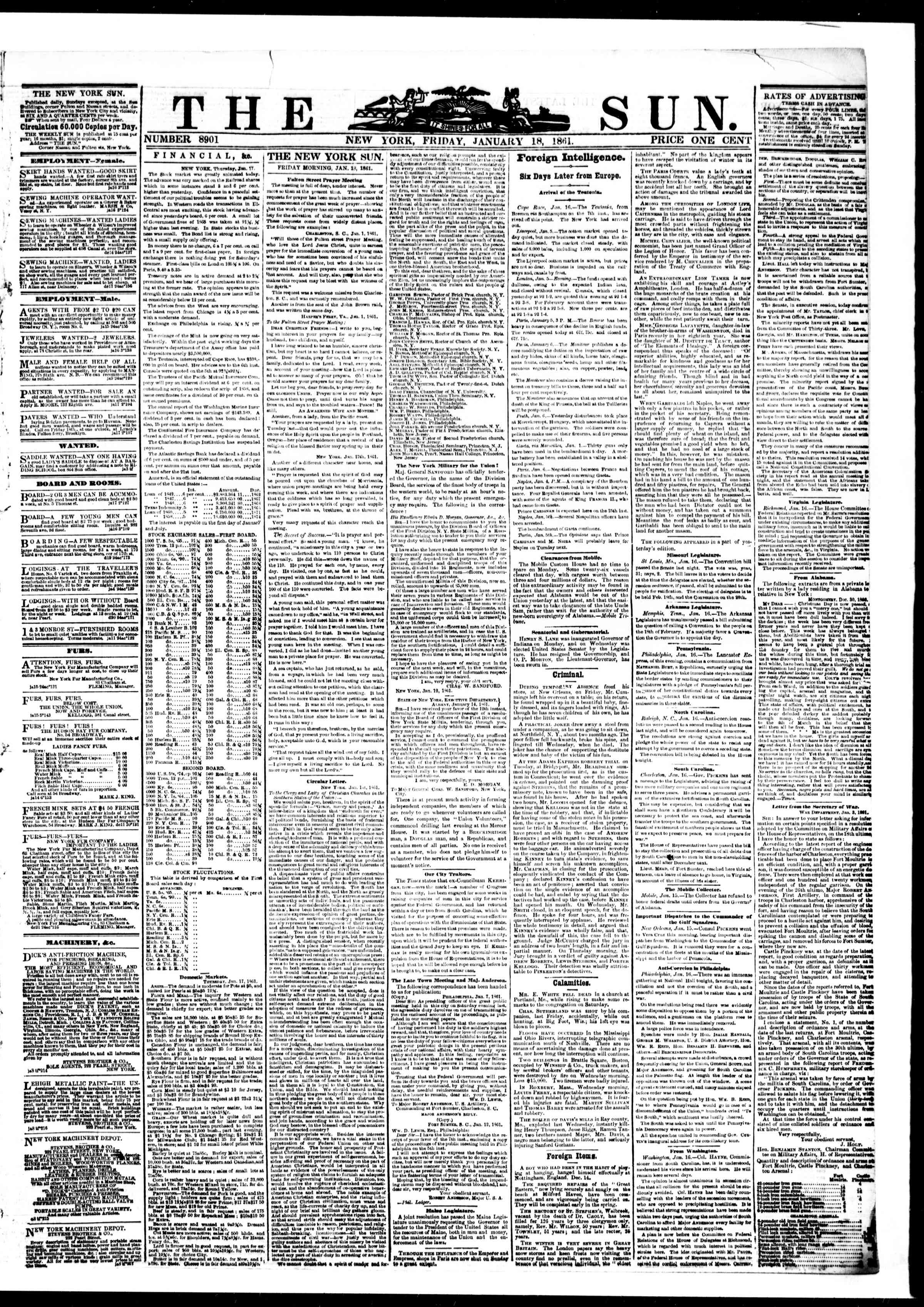 Newspaper of The Sun dated January 18, 1861 Page 1