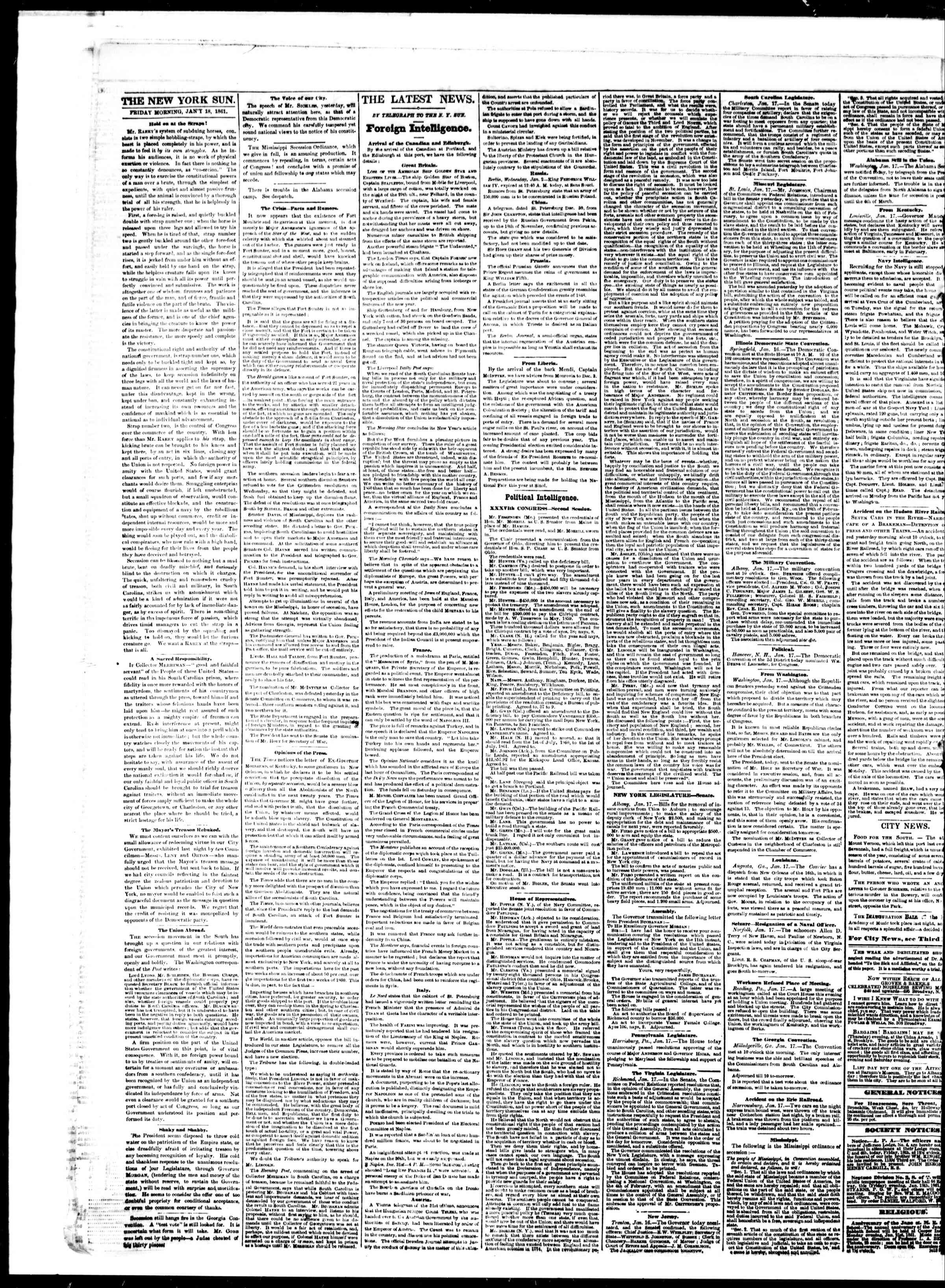 Newspaper of The Sun dated January 18, 1861 Page 2