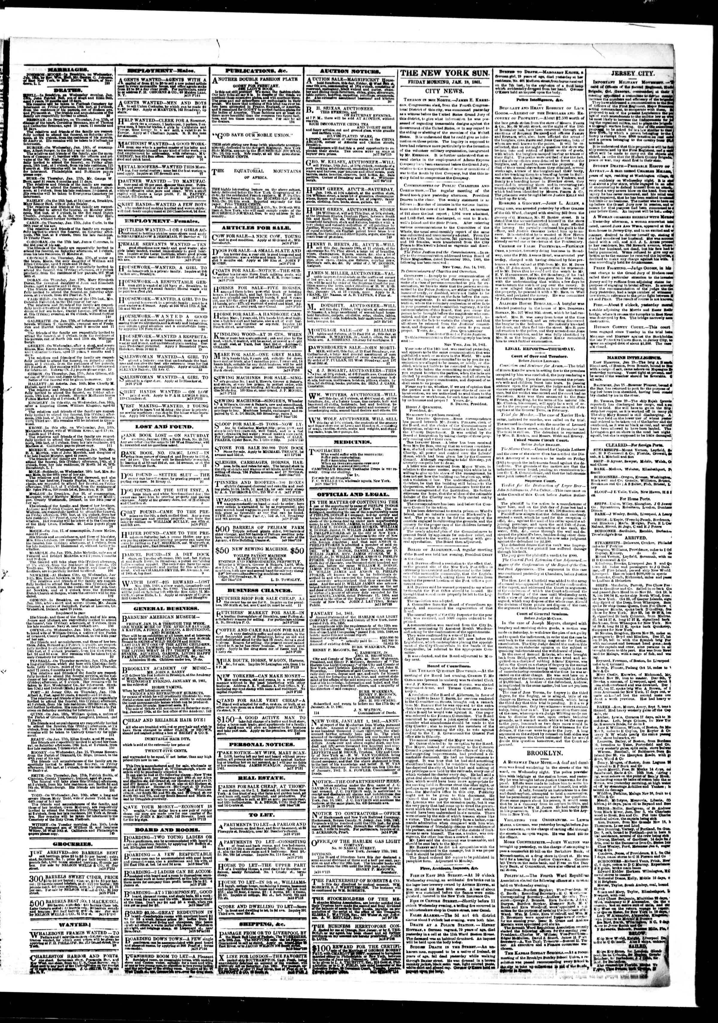 Newspaper of The Sun dated January 18, 1861 Page 3