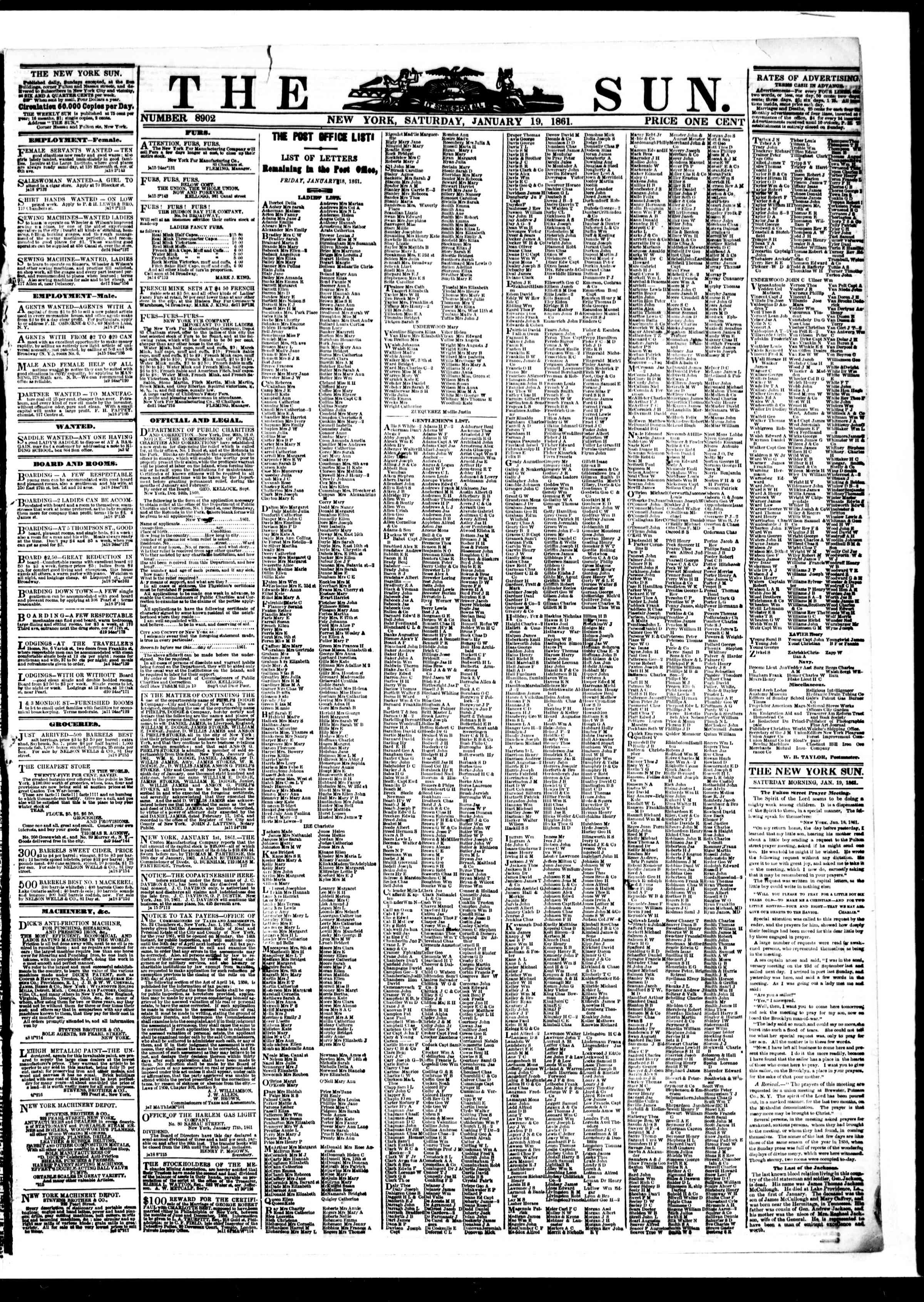 Newspaper of The Sun dated January 19, 1861 Page 1