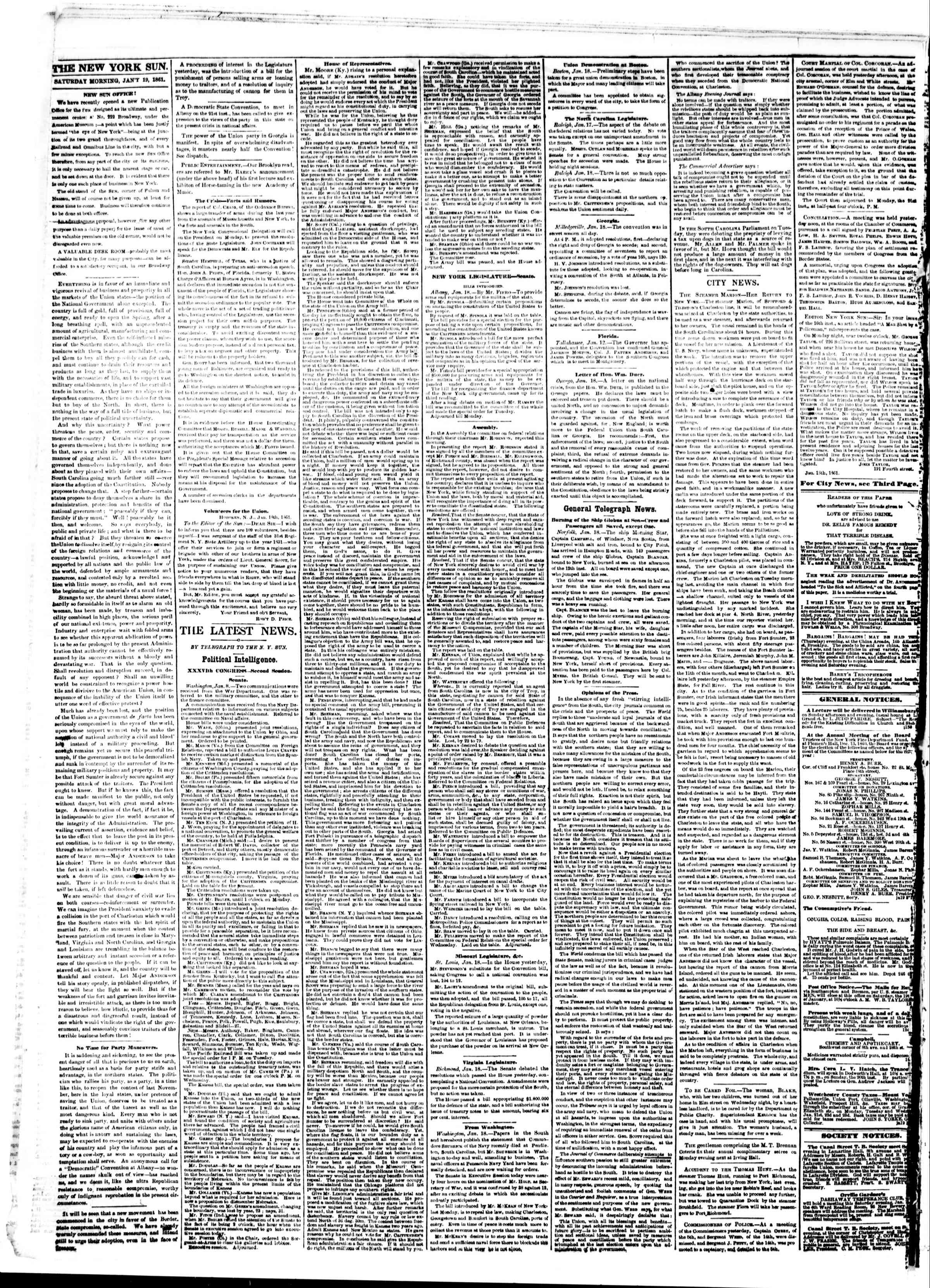 Newspaper of The Sun dated January 19, 1861 Page 2