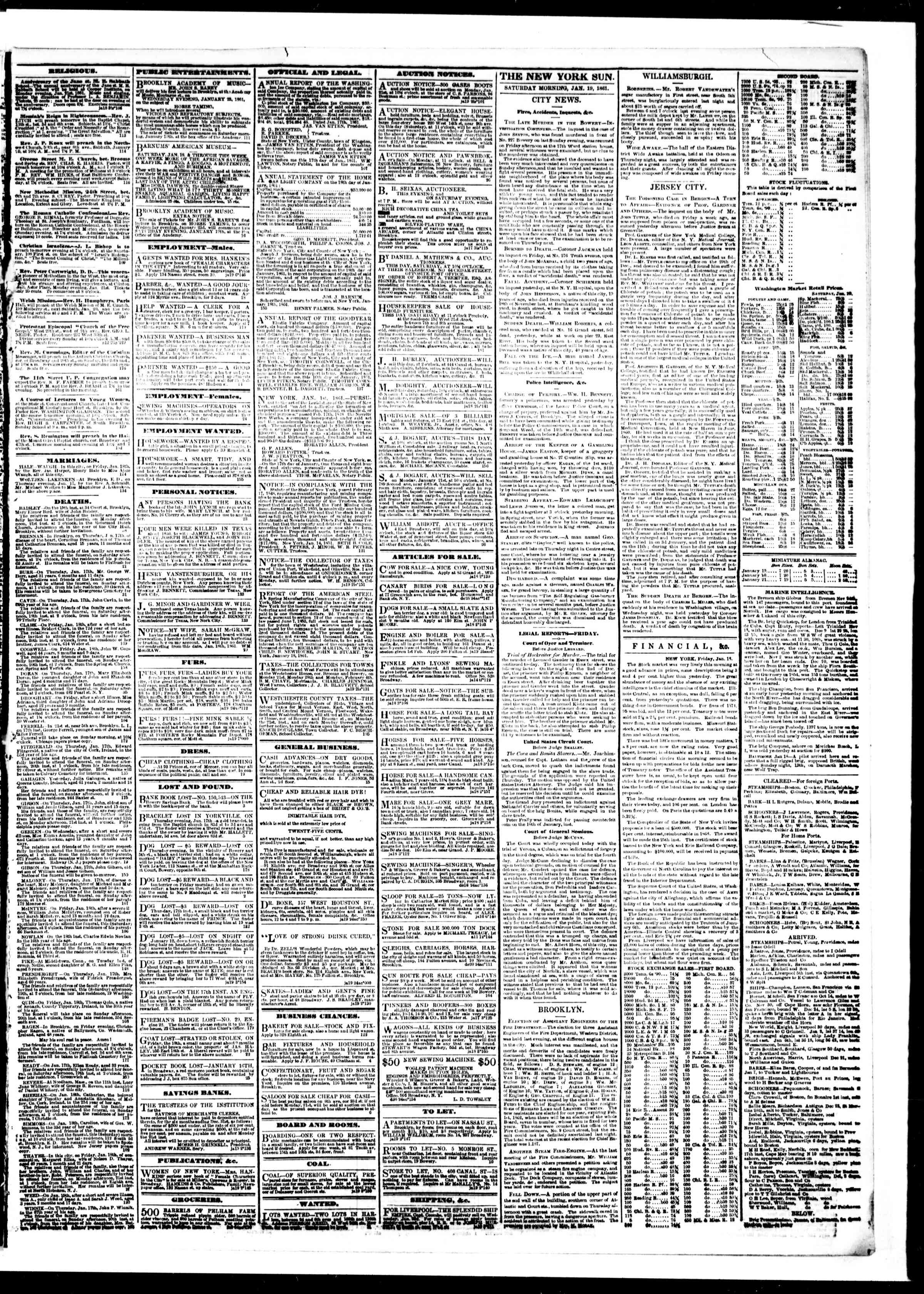 Newspaper of The Sun dated 19 Ocak 1861 Page 3