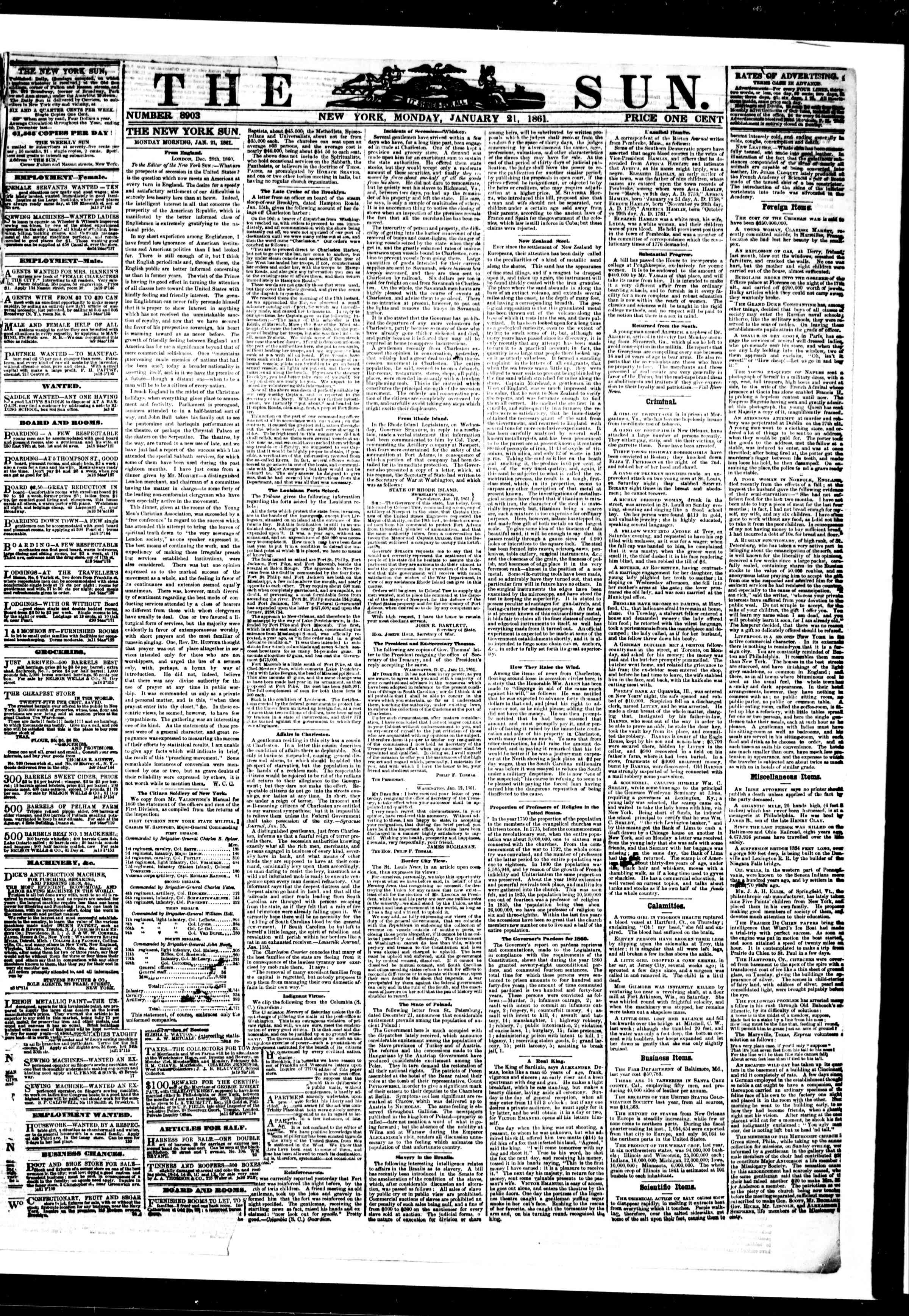 Newspaper of The Sun dated January 21, 1861 Page 1