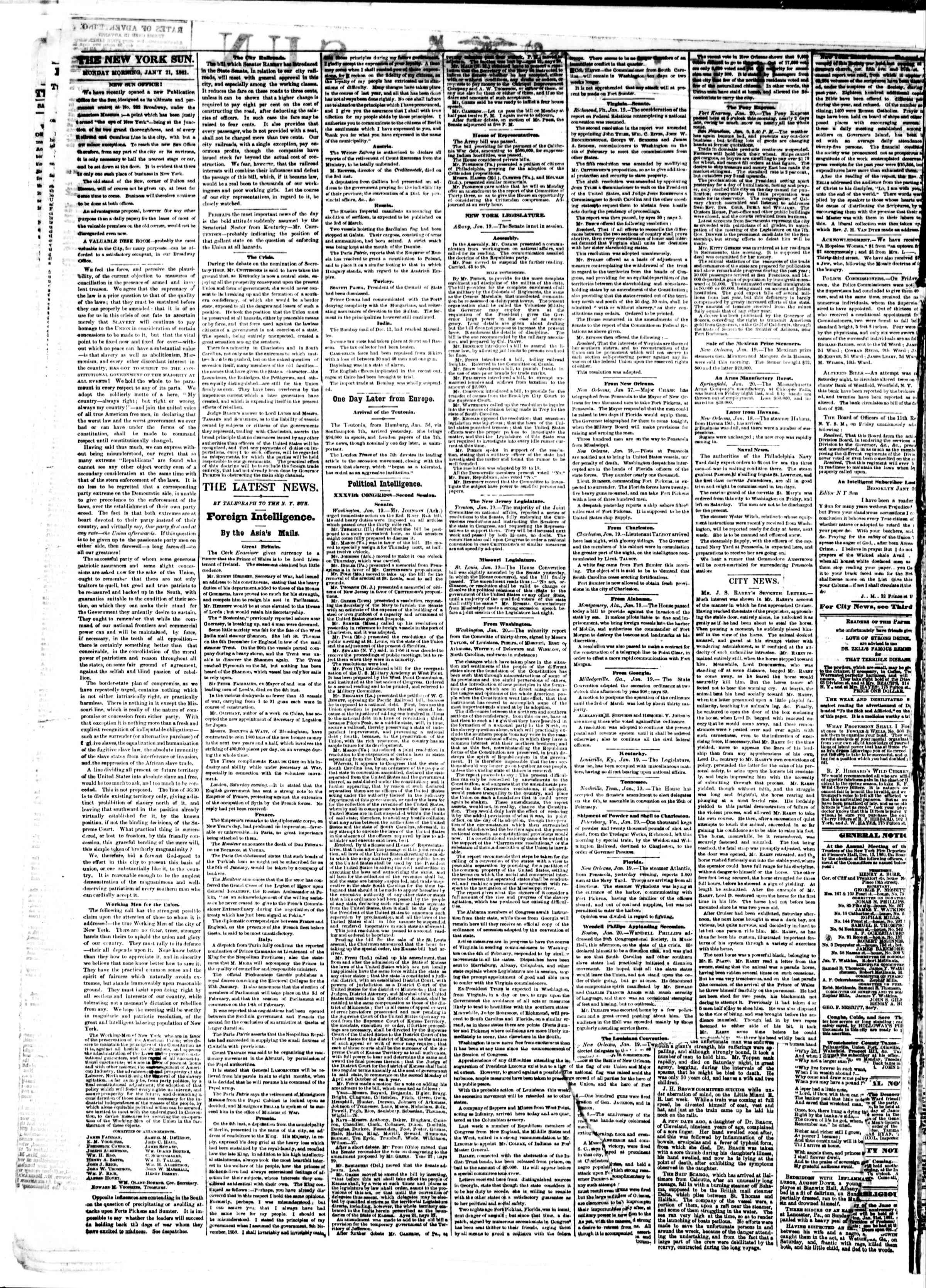 Newspaper of The Sun dated January 21, 1861 Page 2