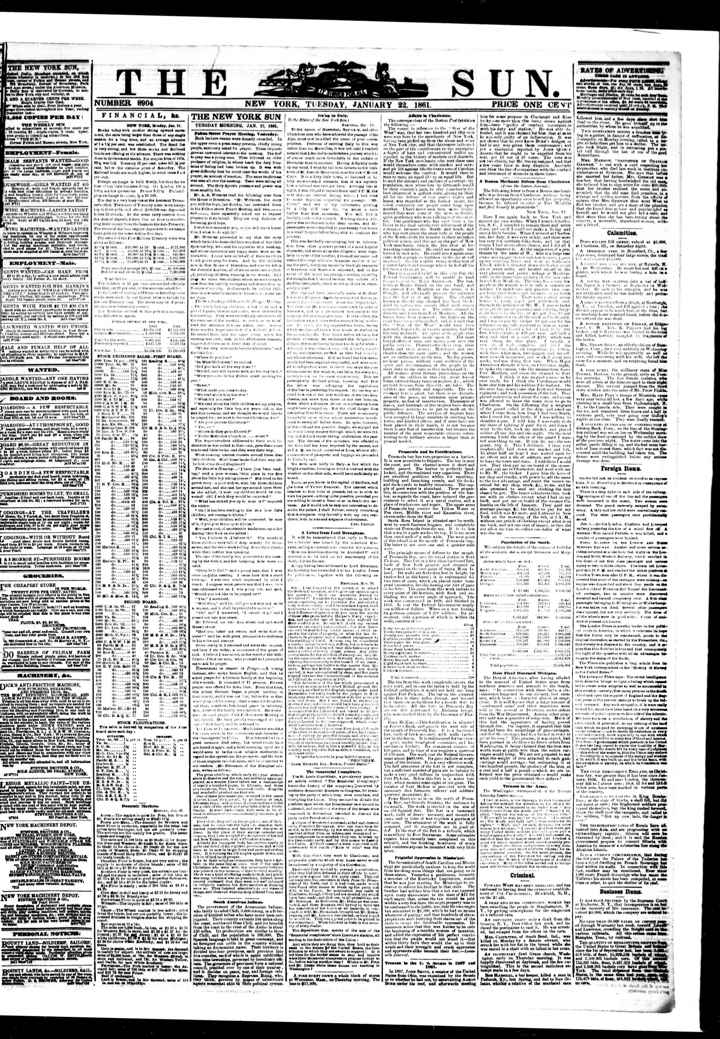 Newspaper of The Sun dated January 22, 1861 Page 1