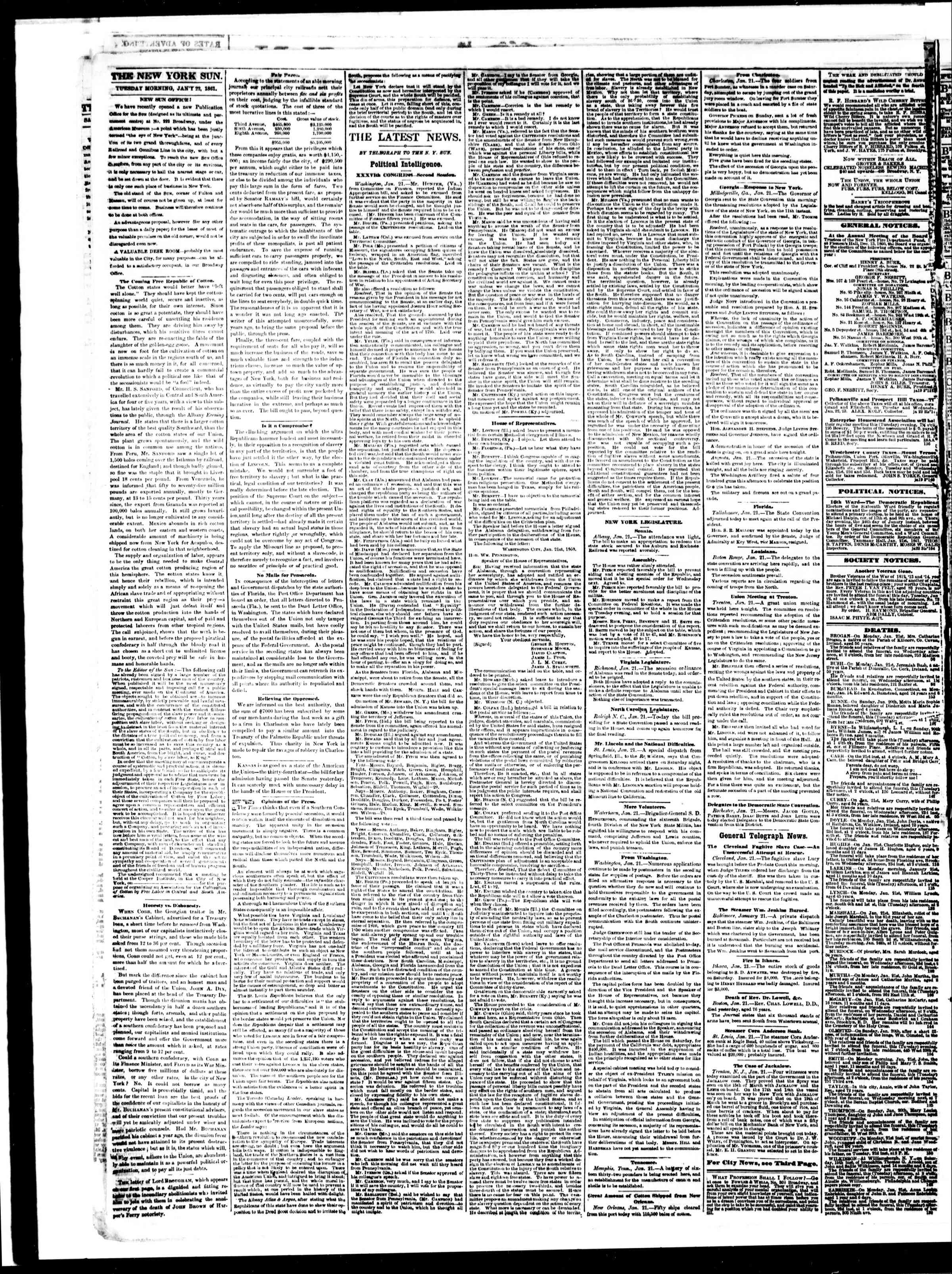 Newspaper of The Sun dated January 22, 1861 Page 2