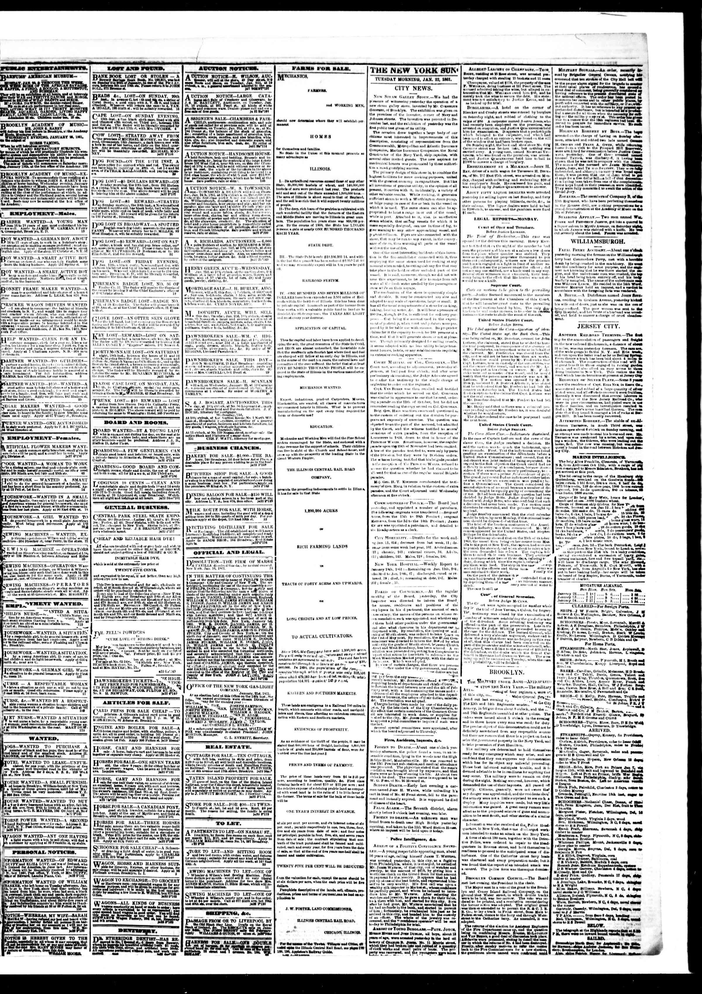 Newspaper of The Sun dated January 22, 1861 Page 3