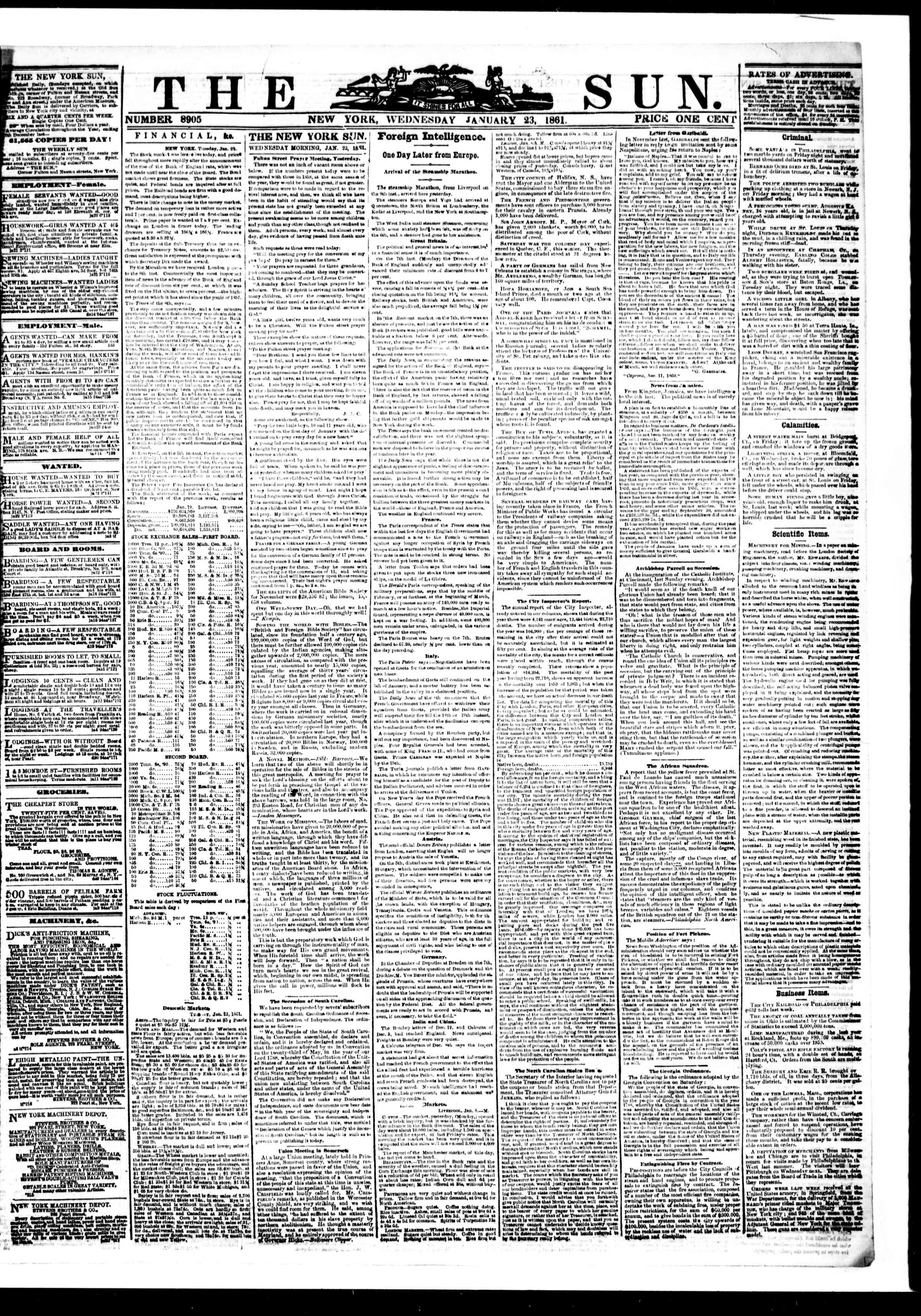 Newspaper of The Sun dated 23 Ocak 1861 Page 1